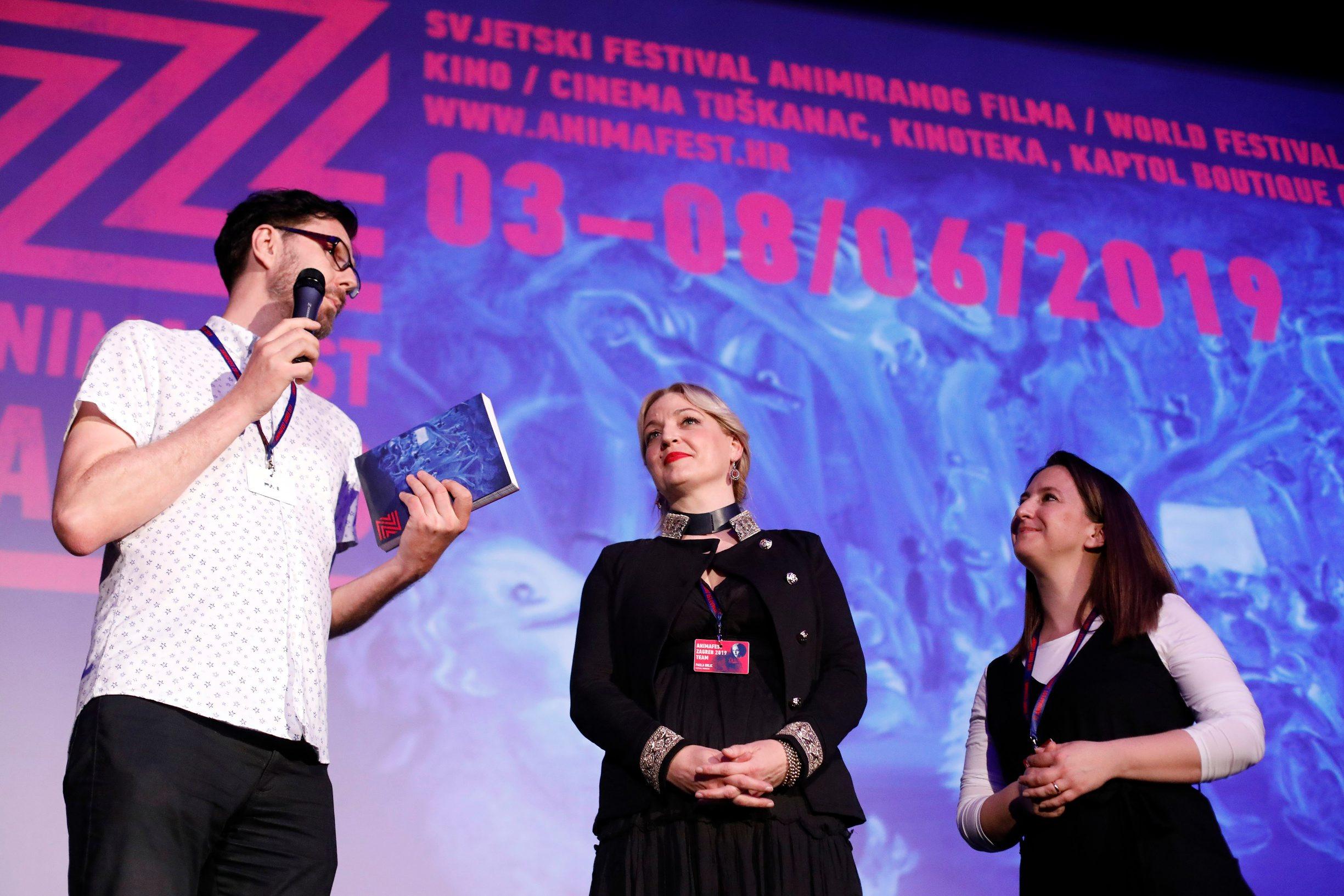 Zagreb, 030619. U kinu Tuskanac otvoren festival animiranog filma Animafest 2019. Na fotografiji: Daniel Suljic, Paola Orlic, Matea Milic. Foto: Tomislav Kristo / CROPIX