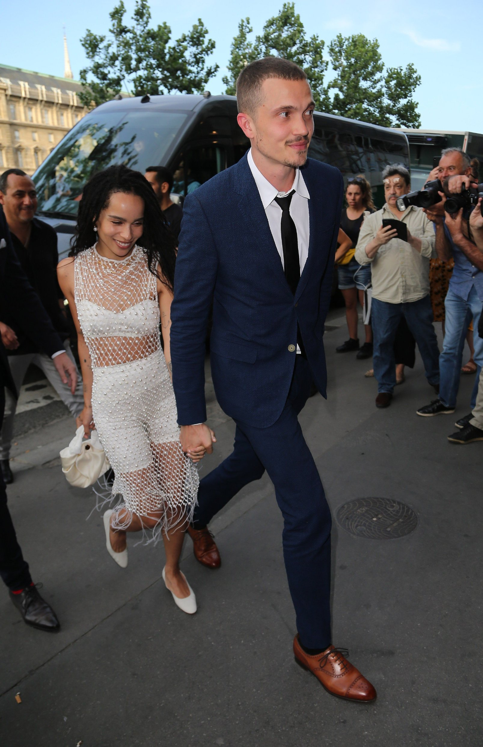 Zoe Kravitz and Karl Glusman attend pre wedding party at french restaurant Laperouse in Paris, France on June 28th 2019, Image: 452246196, License: Rights-managed, Restrictions: , Model Release: no, Credit line: Profimedia, KCS Presse