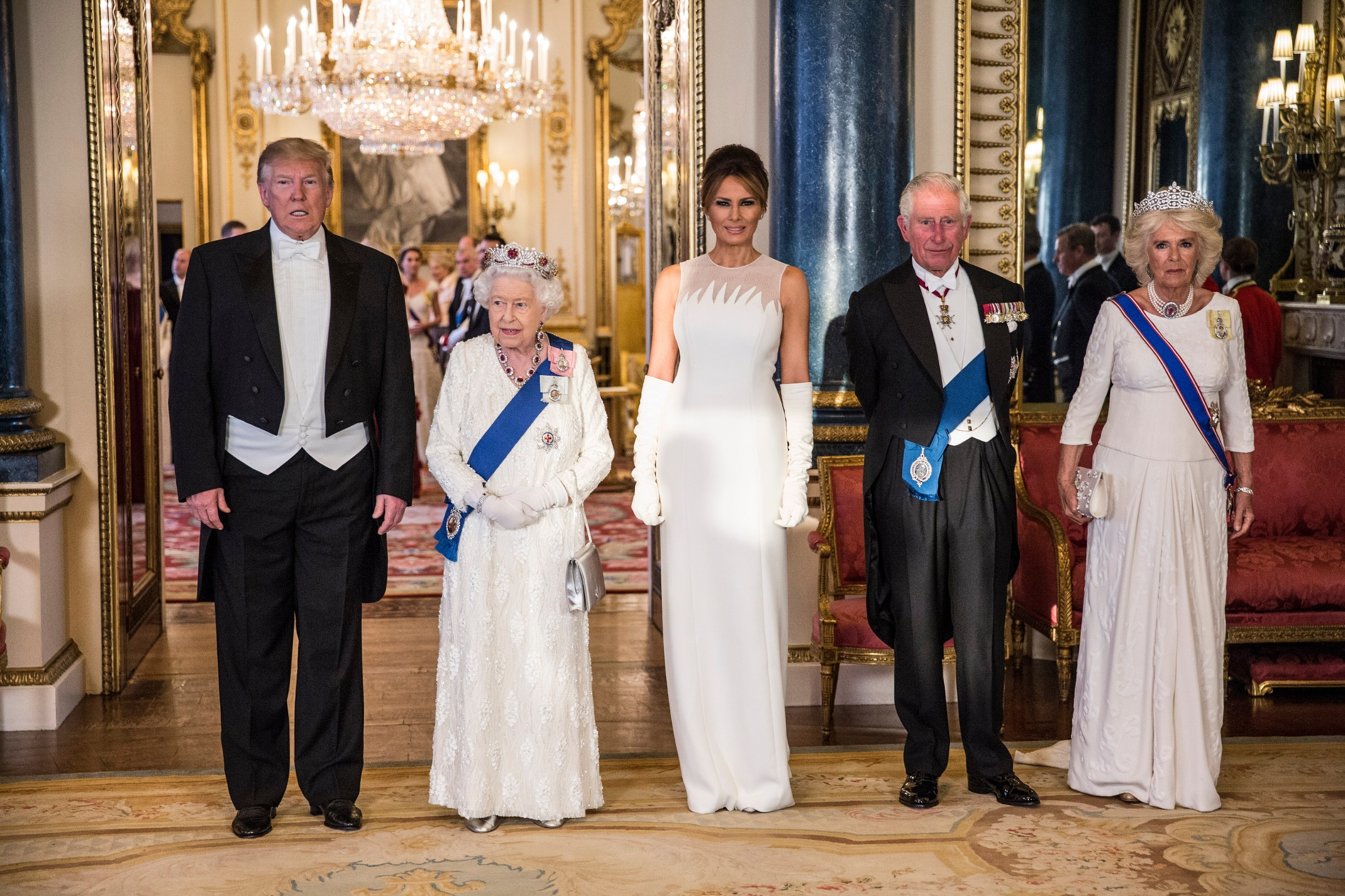 LONDON, ENGLAND - JUNE 03: (L-R) U.S. President Donald Trump, Queen Elizabeth II, First Lady Melania Trump, Prince Charles Prince of Wales and Camilla Duchess of Cornwall attend a State Banquet at Buckingham Palace on June 3, 2019 in London, England. President Trump's three-day state visit will include lunch with the Queen, and a State Banquet at Buckingham Palace, as well as business meetings with the Prime Minister and the Duke of York, before travelling to Portsmouth to mark the 75th anniversary of the D-Day landings.  (Photo by Jeff Gilbert - WPA Pool/Getty Images)