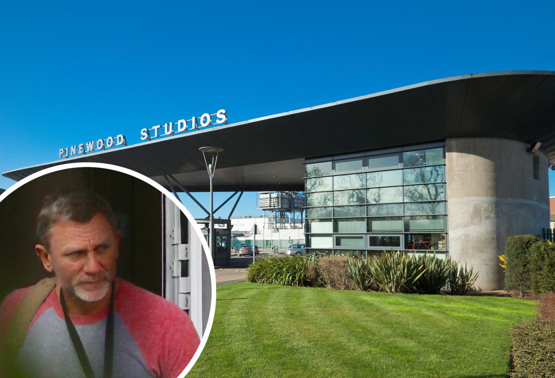Pinewood Studios gdje se dogodila nesreća i Daniegl Craig (u krugu)