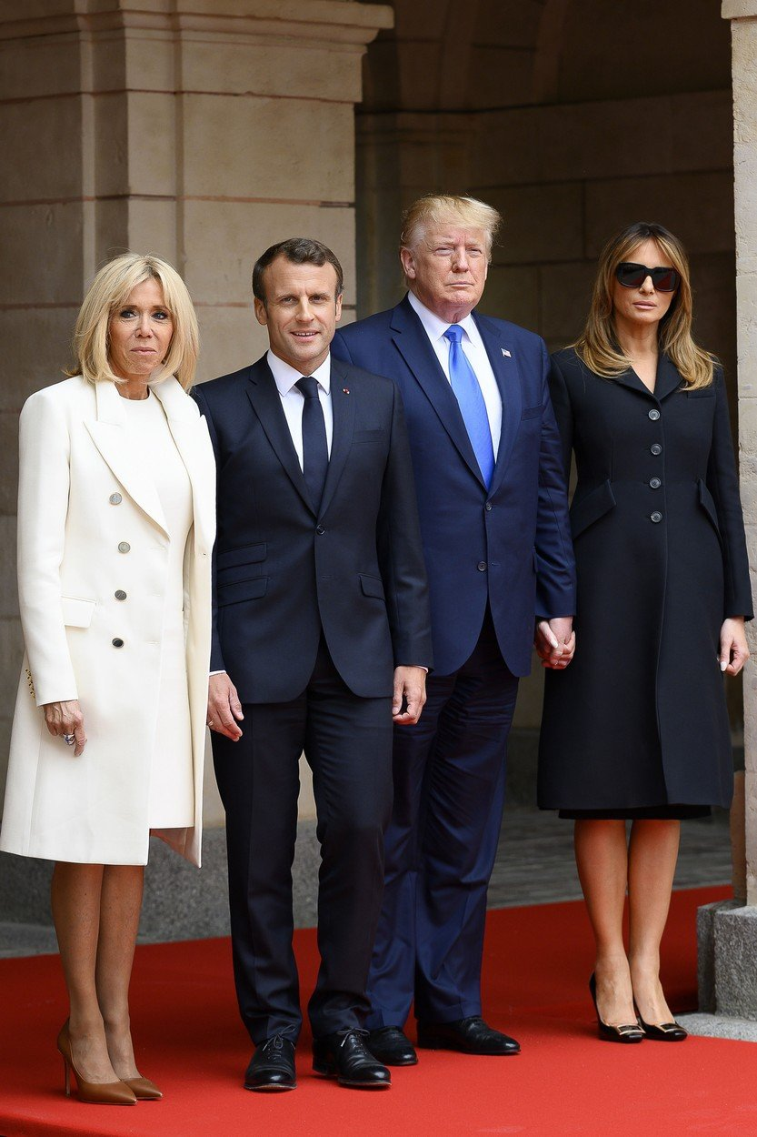 (190606) -- CAEN, June 6, 2019  -- French President Emmanuel Macron (2nd L) and his wife Brigitte Macron (1st L) meet with U.S. President Donald Trump (2nd R) and his wife Melania Trump in Caen, France, June 6, 2019. Macron on Thursday evoked the spirit of D-Day Landings and the Battle of Normandy to defend global approach and multilateralism, telling visiting U.S. President Donald Trump