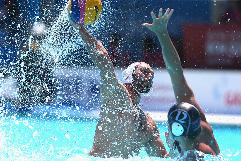 BARCELONA, SPAIN - JULY 28:  Paulo Obradovic (L) of Croatia and Adam Pye of New Zealand in action during the Men's Water Polo quarterfinals qualification match between Croatia  and New Zealand during day nine of the 15th FINA World Championships at Piscines Bernat Picornell on July 28, 2013 in Barcelona, Spain.  (Photo by Alexander Hassenstein/Getty Images)