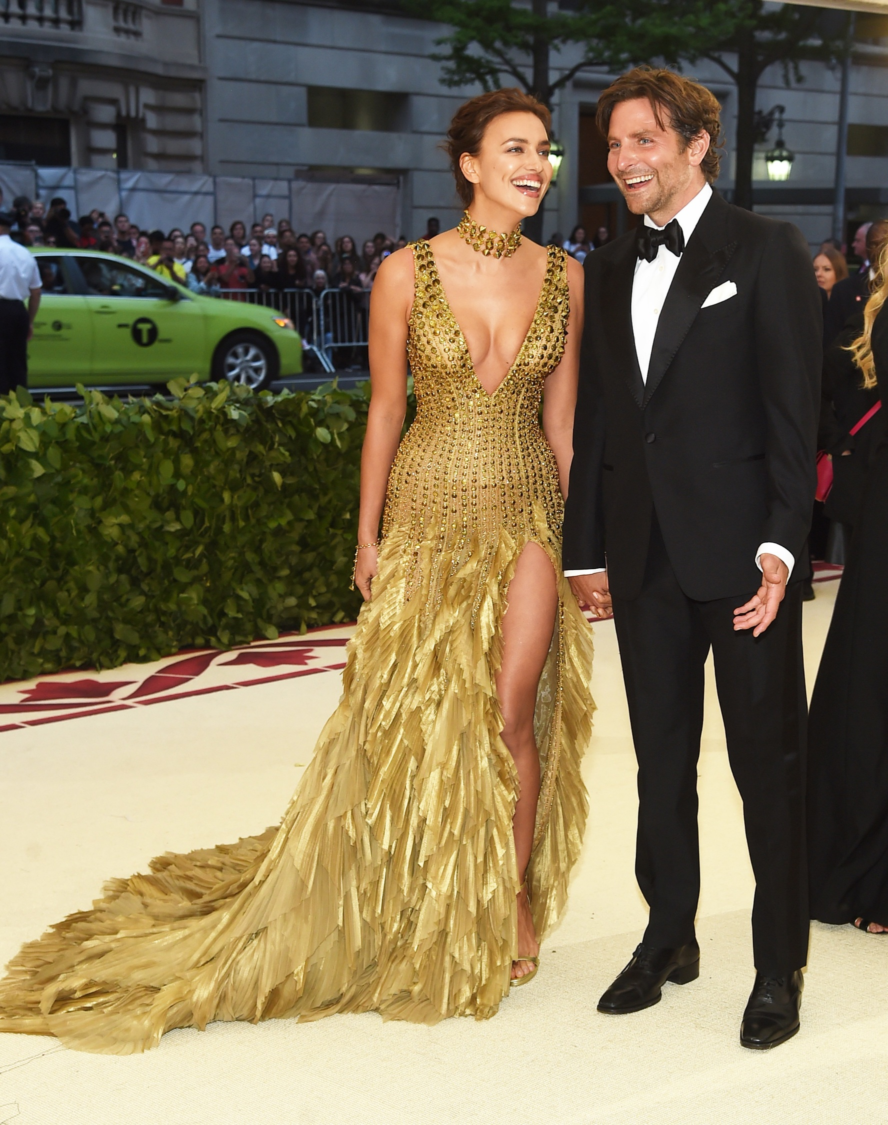NEW YORK, NY - MAY 07:  Irina Shayk and Bradley Cooper attend the Heavenly Bodies: Fashion & The Catholic Imagination Costume Institute Gala at The Metropolitan Museum of Art on May 7, 2018 in New York City.  (Photo by Jamie McCarthy/Getty Images)