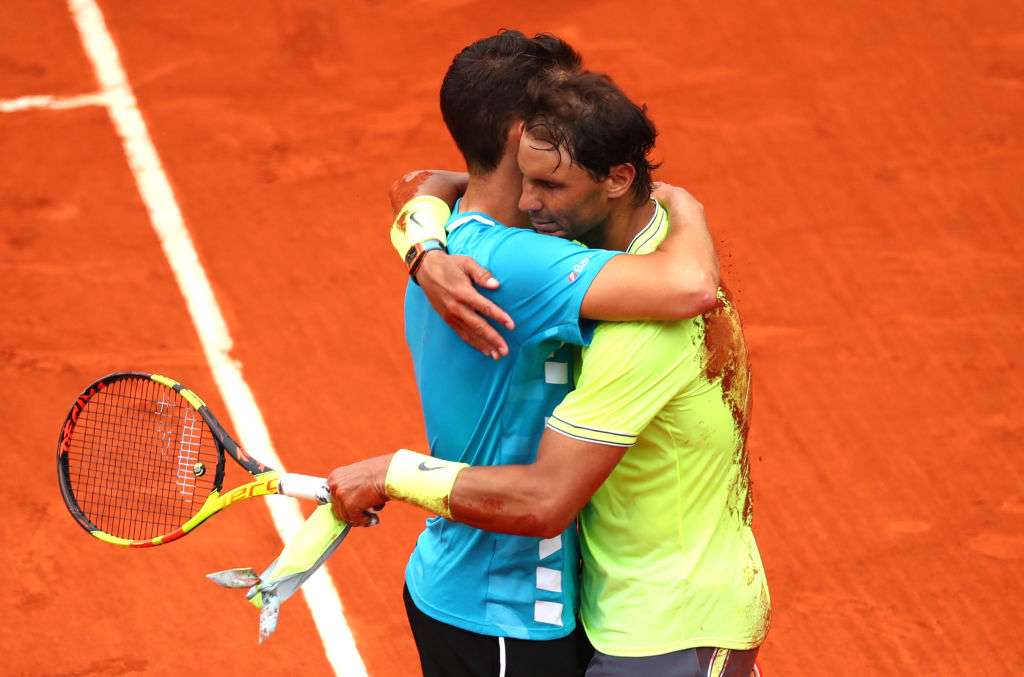 PARIS, FRANCE - JUNE 09: Rafael Nadal of Spain embraces Dominic Thiem of Austria following victory in the mens singles final during Day fifteen of the 2019 French Open at Roland Garros on June 09, 2019 in Paris, France. (Photo by Clive Brunskill/Getty Images)