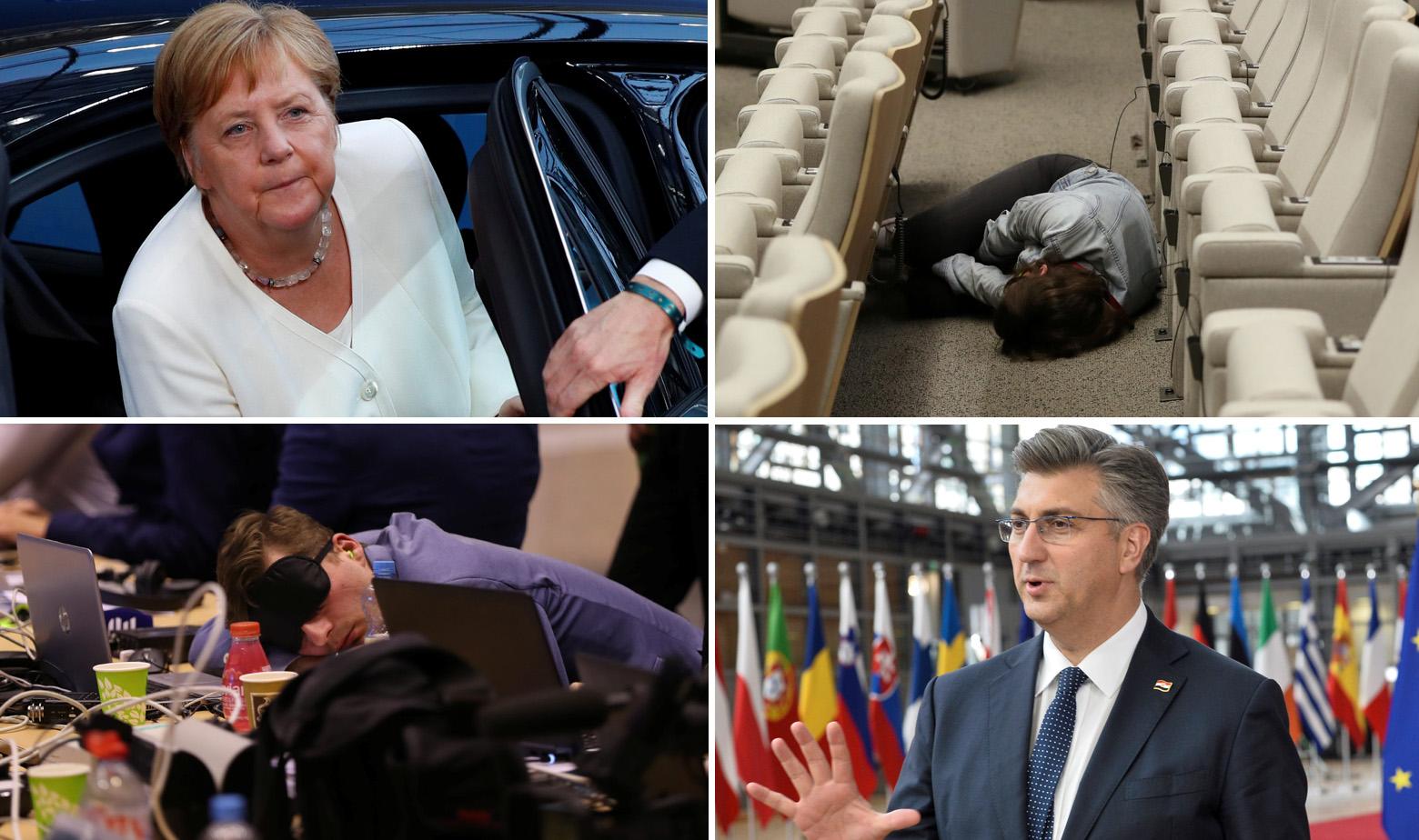 Angela Merkel, Andrej Plenković i prizori iz Bruxellesa tijekom summita