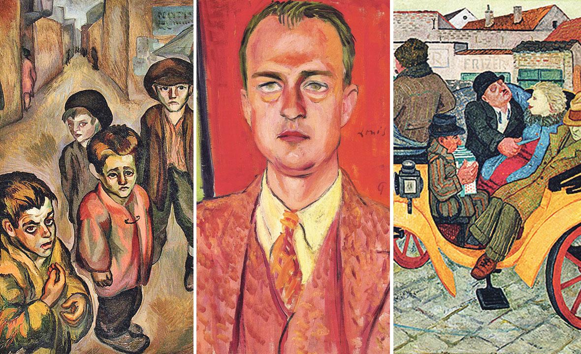 slika Romana Petrovića (lijevo), Louis Adamič na slici Petra Dobrovića (u sredini), slika Marijana Detonija (desno)