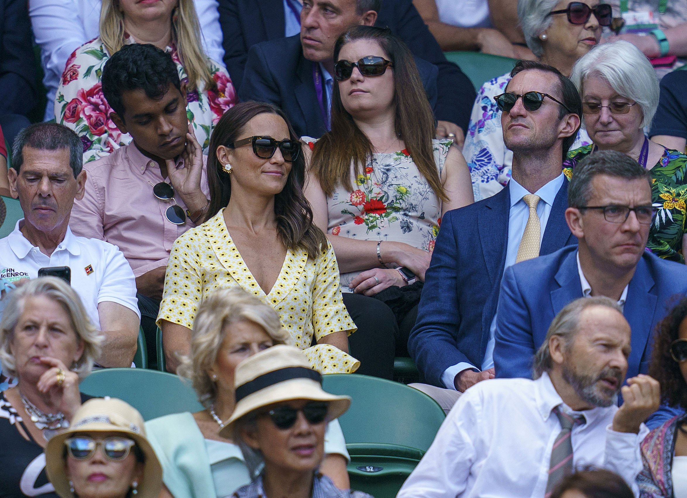 Jul 12, 2019; London, United Kingdom; Pippa Middleton in attendance for the Novak Djokovic (SRB) and Roberto Bautista Agut (ESP) match on day 11 at the All England Lawn and Croquet Club., Image: 457971157, License: Rights-managed, Restrictions: *** World Rights ***, Model Release: no, Credit line: Profimedia, SIPA USA