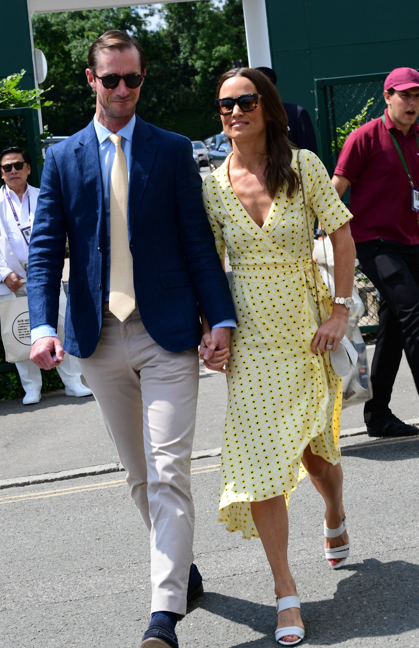 12 July 2019.  Pippa Middleton & James Matthews arrive at wimbledon Tennis   Pictured: Pippa Middleton, James Matthews, Image: 457881260, License: Rights-managed, Restrictions: , Model Release: no, Credit line: Profimedia, Goff Photos