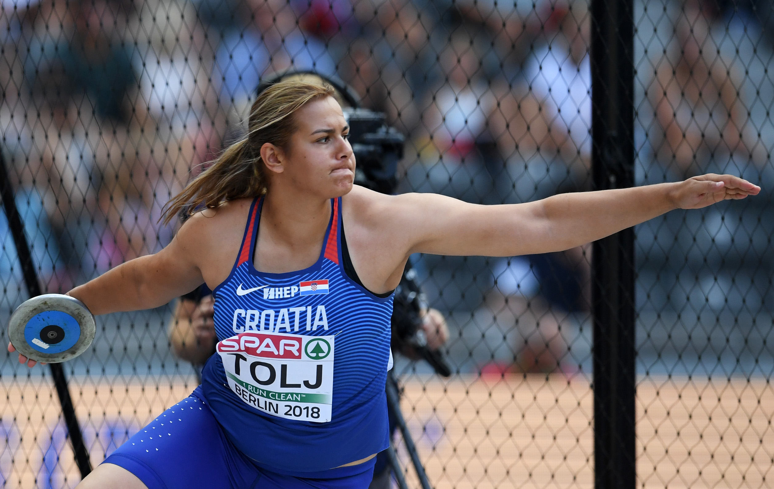 BERLIN, GERMANY - AUGUST 09:  Marija Tolj of Croatia competes in the Women's discus throw qualifying round during day three of the 24th European Athletics Championships at Olympiastadion on August 9, 2018 in Berlin, Germany. This event forms part of the first multi-sport European Championships.  (Photo by Matthias Hangst/Getty Images)