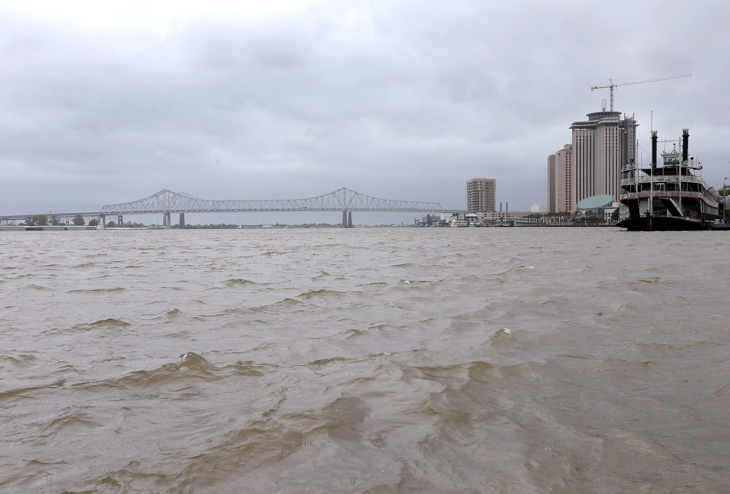 A view of the Mississippi River as Tropical Storm Barry approaches land in New Orleans, Louisiana, U.S. July 12, 2019.  REUTERS/Jonathan Bachman