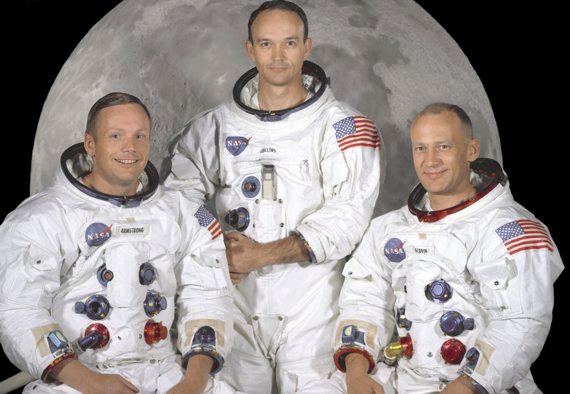 This NASA studio file image, dated May 1, 1969, shows the Apollo 11 crew of U.S. astronauts Neil Armstrong, (L) who was the Mission Commander and the first man to step on the moon, Edwin