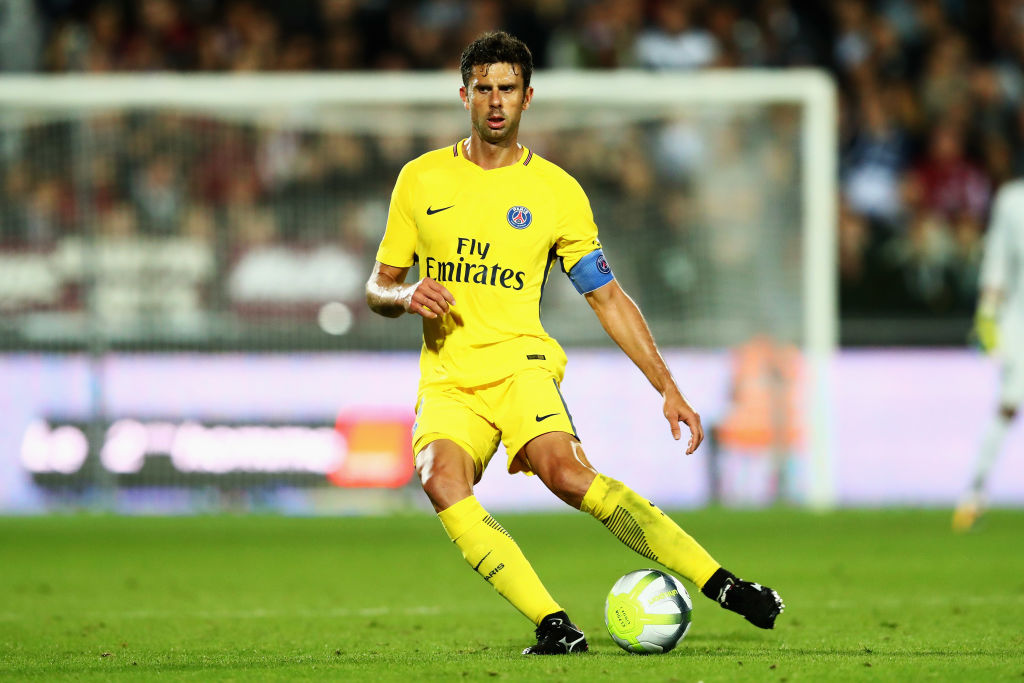 METZ, FRANCE - SEPTEMBER 08:  Thiago Motta of Paris Saint-Germain Football Club or PSG in action during the Ligue 1 match between Metz and Paris Saint Germain or PSG held at Stade Saint-Symphorien  on September 8, 2017 in Metz, France.  (Photo by Dean Mouhtaropoulos/Getty Images)