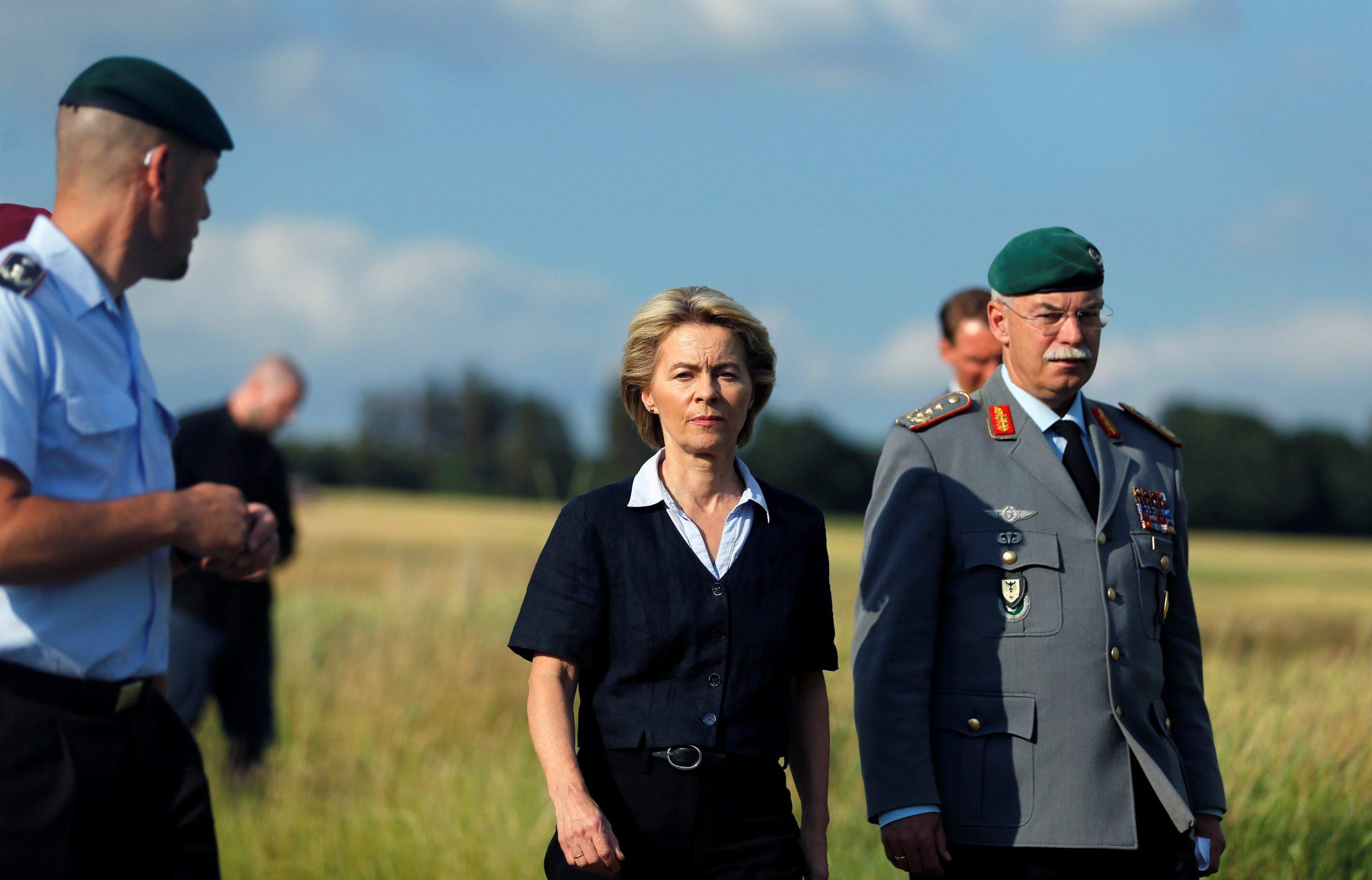 German Minister of Defence Ursula von der Leyen visits the site where German armed forces helicopter crashed in Dehmke near Hanover, Germany, July 1, 2019 REUTERS/Leon Kuegeler