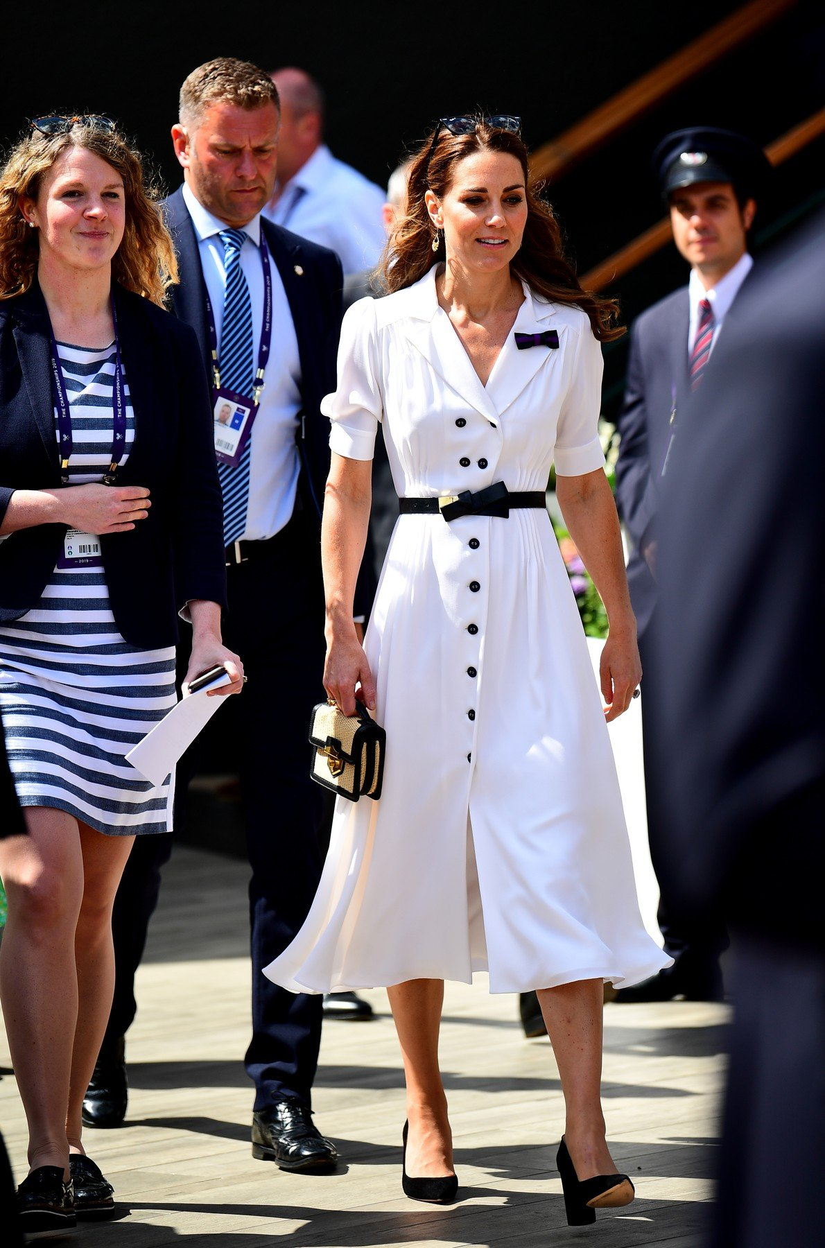 The Duchess of Cambridge attends on day two of the Wimbledon Championships at the All England Lawn Tennis and Croquet Club, Wimbledon., Image: 453478901, License: Rights-managed, Restrictions: Editorial use only. No commercial use without prior written consent of the AELTC. Still image use only - no moving images to emulate broadcast. No superimposing or removal of sponsor/ad logos, Model Release: no, Credit line: Profimedia, Press Association