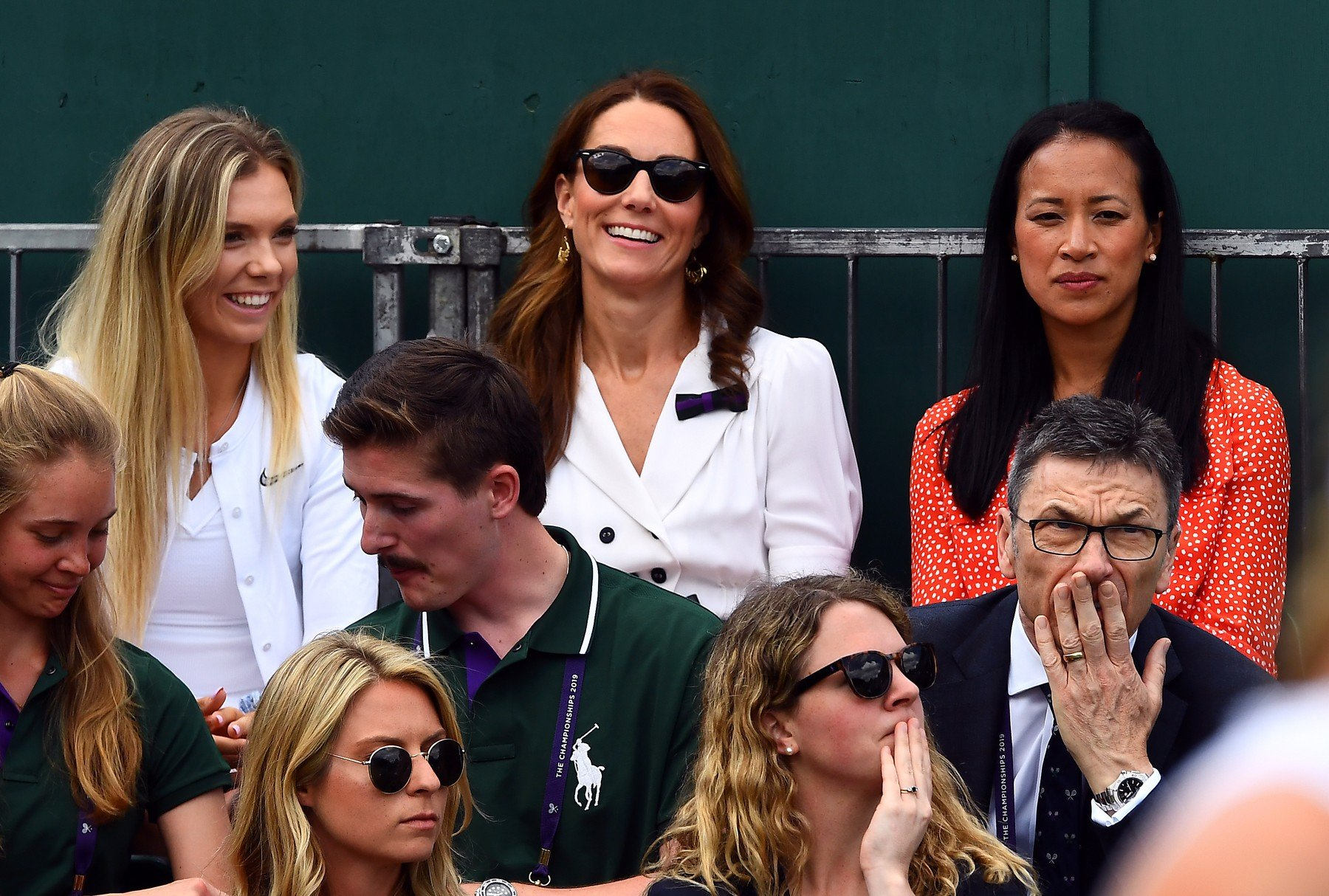 The Duchess of Cambridge with Katie Boulter (left) and Anne Keothavong (right) as they watch Harriet Dart in action on day two of the Wimbledon Championships at the All England Lawn Tennis and Croquet Club, Wimbledon., Image: 453482619, License: Rights-managed, Restrictions: Editorial use only. No commercial use without prior written consent of the AELTC. Still image use only - no moving images to emulate broadcast. No superimposing or removal of sponsor/ad logos, Model Release: no, Credit line: Profimedia, Press Association