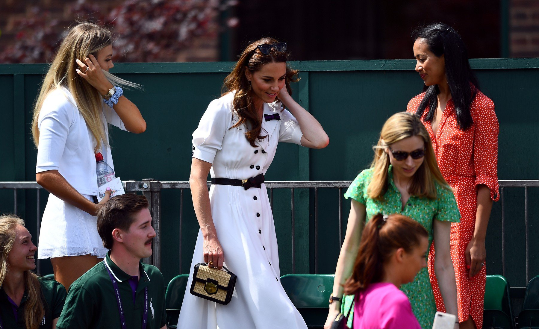 The Duchess of Cambridge leaves court fourteen after watching Harriet Dart in action on day two of the Wimbledon Championships at the All England Lawn Tennis and Croquet Club, Wimbledon., Image: 453500895, License: Rights-managed, Restrictions: Editorial use only. No commercial use without prior written consent of the AELTC. Still image use only - no moving images to emulate broadcast. No superimposing or removal of sponsor/ad logos, Model Release: no, Credit line: Profimedia, Press Association