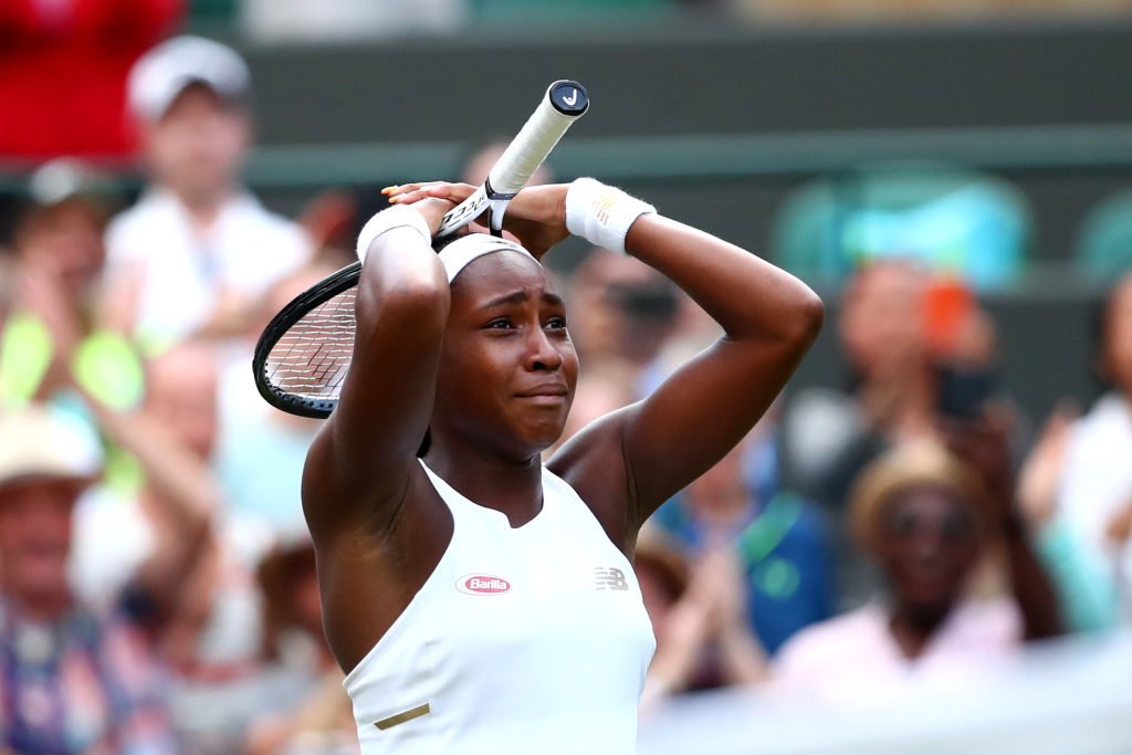 LONDON, ENGLAND - JULY 01: Cori Gauff of the United States celebrates victory after her Ladies' Singles first round match against Venus Williams of The United States during Day one of The Championships - Wimbledon 2019 at All England Lawn Tennis and Croquet Club on July 01, 2019 in London, England. (Photo by Clive Brunskill/Getty Images)