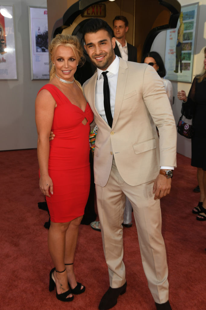 HOLLYWOOD, CALIFORNIA - JULY 22: Britney Spears and Sam Asghari attend the Sony Pictures'