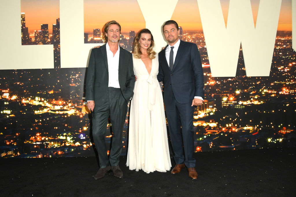 HOLLYWOOD, CALIFORNIA - JULY 22:  Brad Pitt, Margot Robbie and Leonardo DiCaprio attend the Sony Pictures'