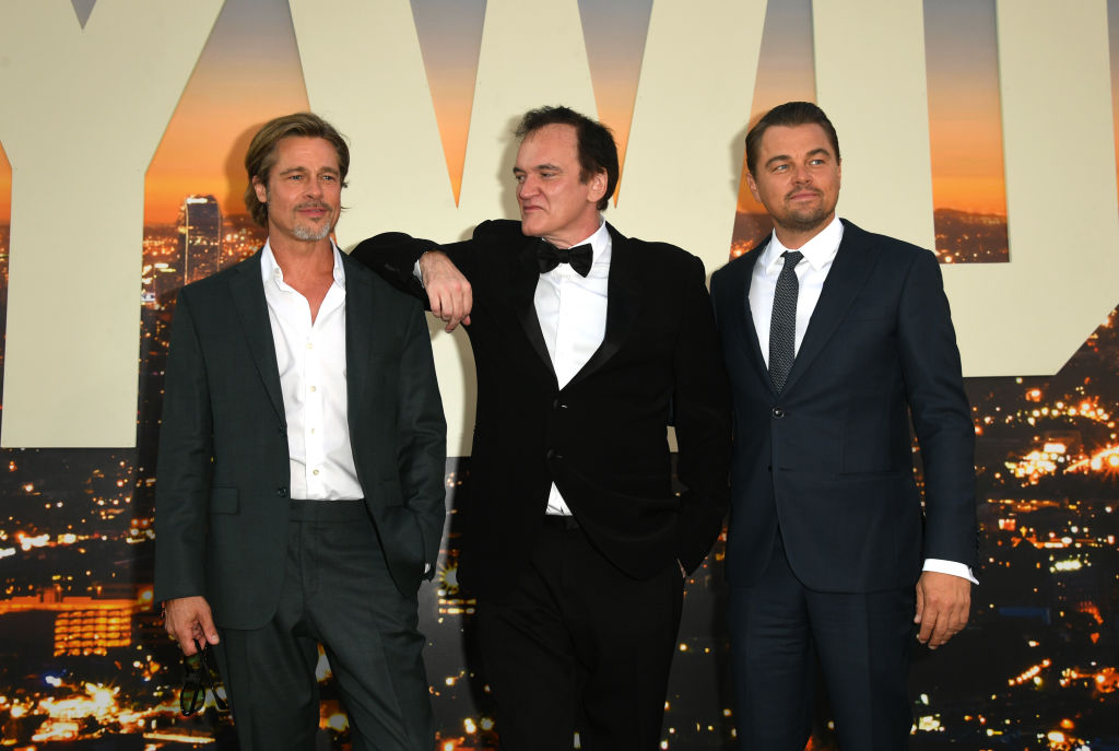 HOLLYWOOD, CALIFORNIA - JULY 22: , Brad Pitt, Director Quentin Tarantino and Leonardo DiCaprio attend the Sony Pictures'
