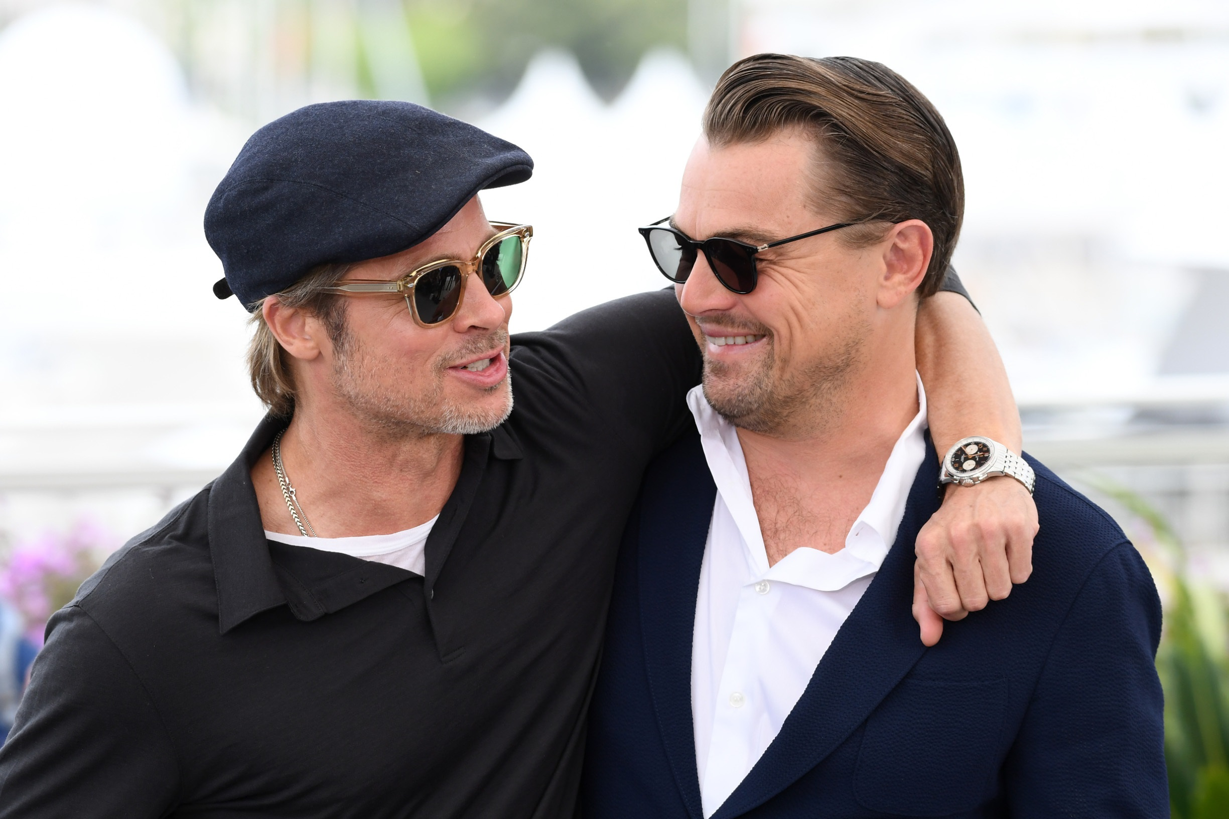 CANNES, FRANCE - MAY 22: Brad Pitt and Leonardo DiCaprio attend the photocall for