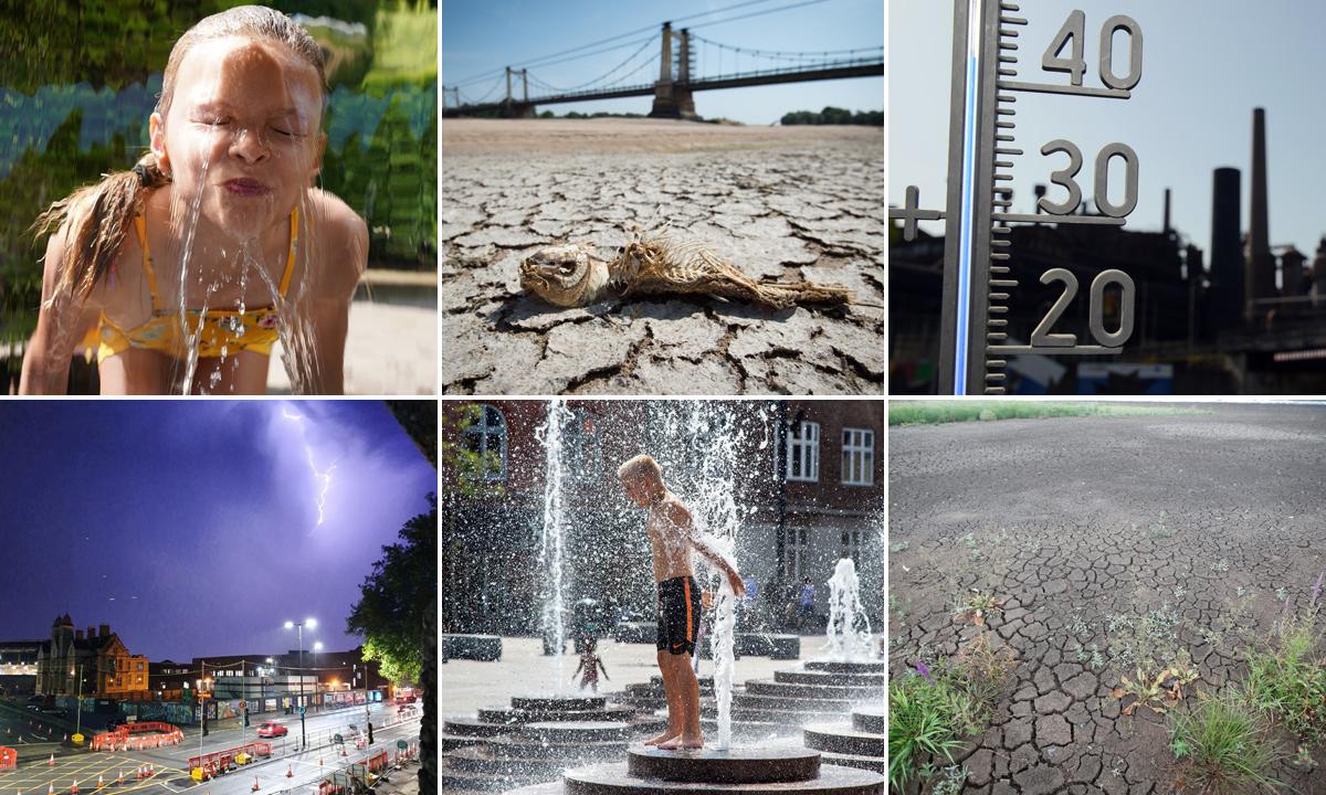 Na fotografiji: suše u Francuskoj, potraga za osvježenjem u Danskoj i nevrijeme u Engleskoj