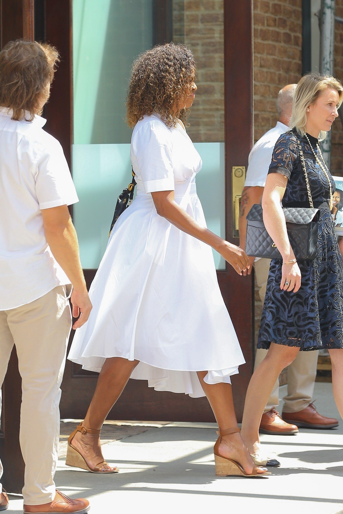 New York, NY  - Michelle Obama steps out in NYC wearing a flowing white dress under the hot sun!  *UK Clients - Pictures Containing Children Please Pixelate Face Prior To Publication*, Image: 460832411, License: Rights-managed, Restrictions: , Model Release: no, Credit line: Profimedia, Backgrid USA