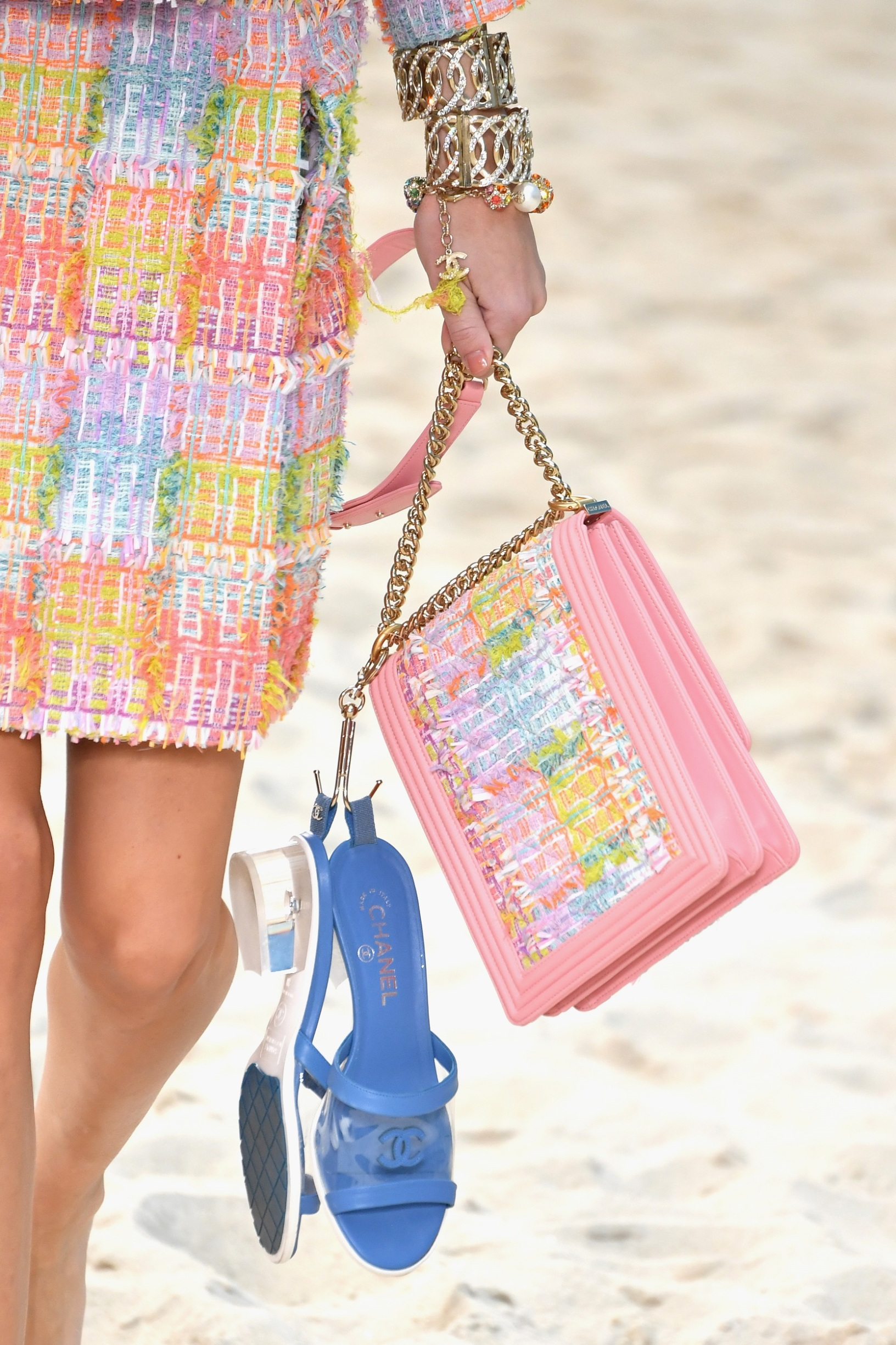 PARIS, FRANCE - OCTOBER 02:  A model,bag detail, walks the runway during the Chanel show as part of the Paris Fashion Week Womenswear Spring/Summer 2019 on October 2, 2018 in Paris, France.  (Photo by Pascal Le Segretain/Getty Images)