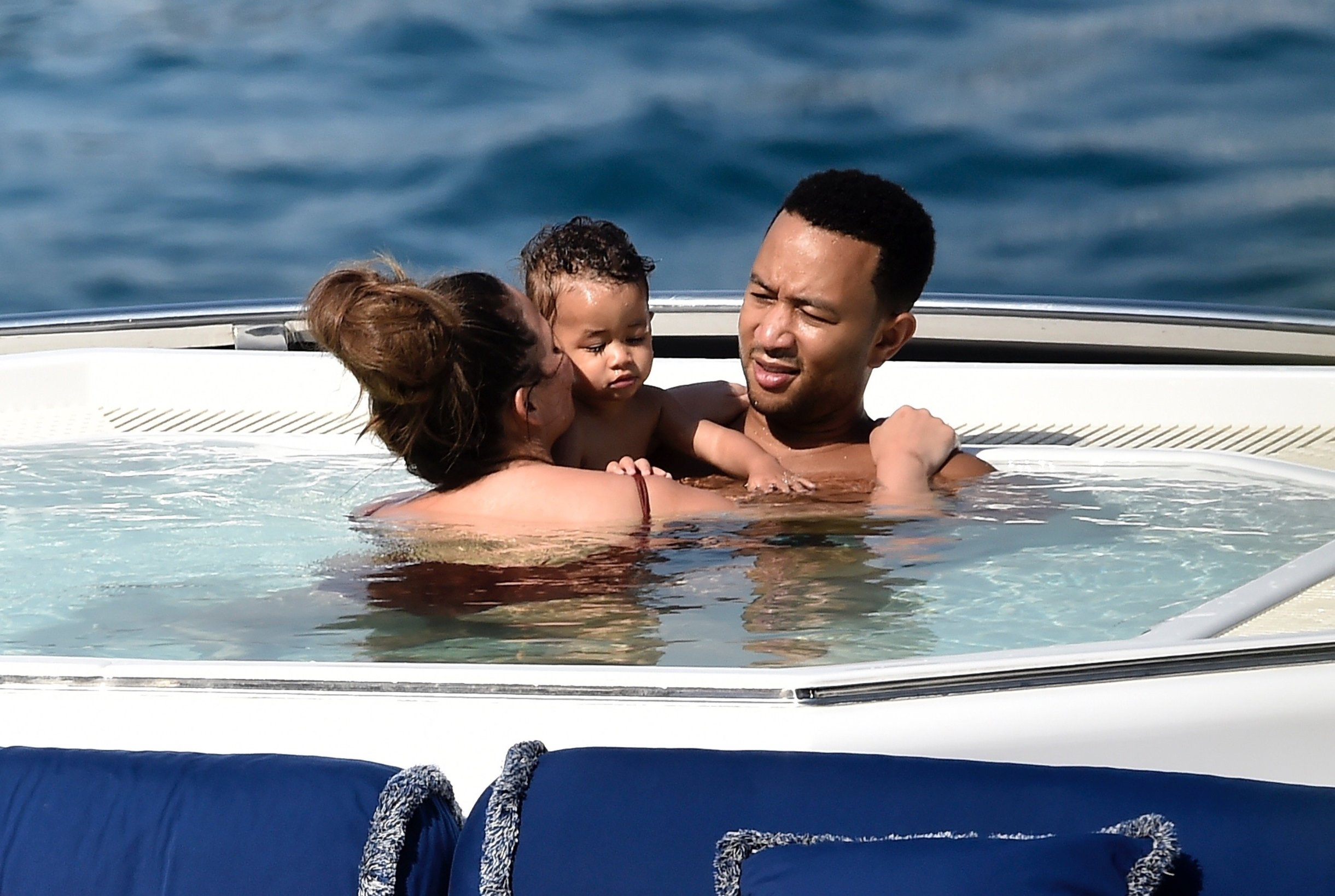 Portofino, ITALY  - The American soul singer John Legend and  wife Chrissy Teigen take a boat ride on their Italian adventure holiday in Portofino.  BACKGRID UK 2 JULY 2019, Image: 453572730, License: Rights-managed, Restrictions: RIGHTS: WORLDWIDE EXCEPT IN ITALY, Model Release: no, Credit line: Profimedia, Backgrid UK