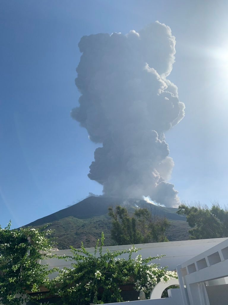 Ash rises after a volcano eruption in Stromboli, Italy, July 3, 2019 in this image obtained from social media. Gernot Werner Gruber via REUTERS ATTENTION EDITORS - THIS IMAGE HAS BEEN SUPPLIED BY A THIRD PARTY. NO RESALES. NO ARCHIVES MANDATORY CREDIT