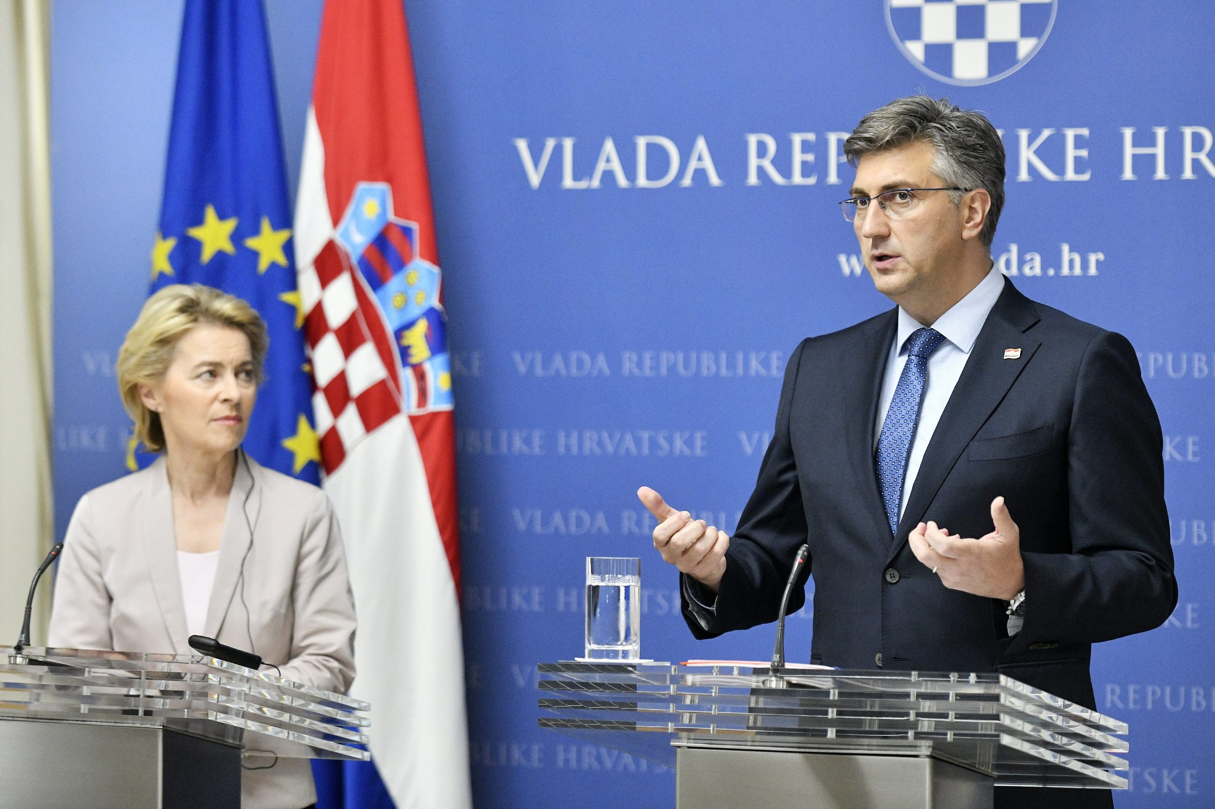 Predsjednik Vlade RH Andrej Plenković primio je novoizabranu predsjednicu Europske komisije Ursulu von der Leyen u Zagrebu