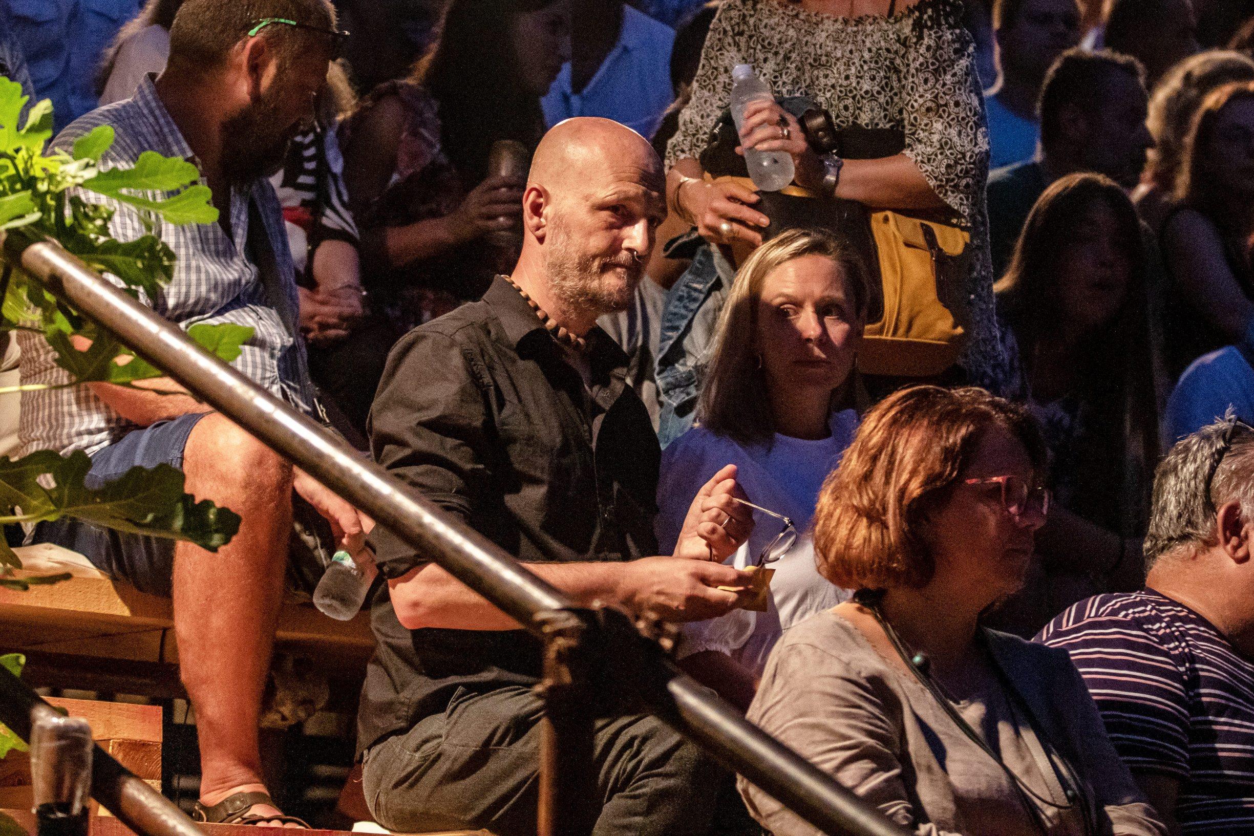 Brijuni,  290719.  Na Malom Brijunu u Tvrðavi Minor odrzana je premijera predstave Tko se boji Virginije Woolf u izvedbi kazalista Ulysses i u reziji Lenke Udovicki.  Na fotografiji: Damir Urban sa suprugom. Foto: Marijana Banko / CROPIX