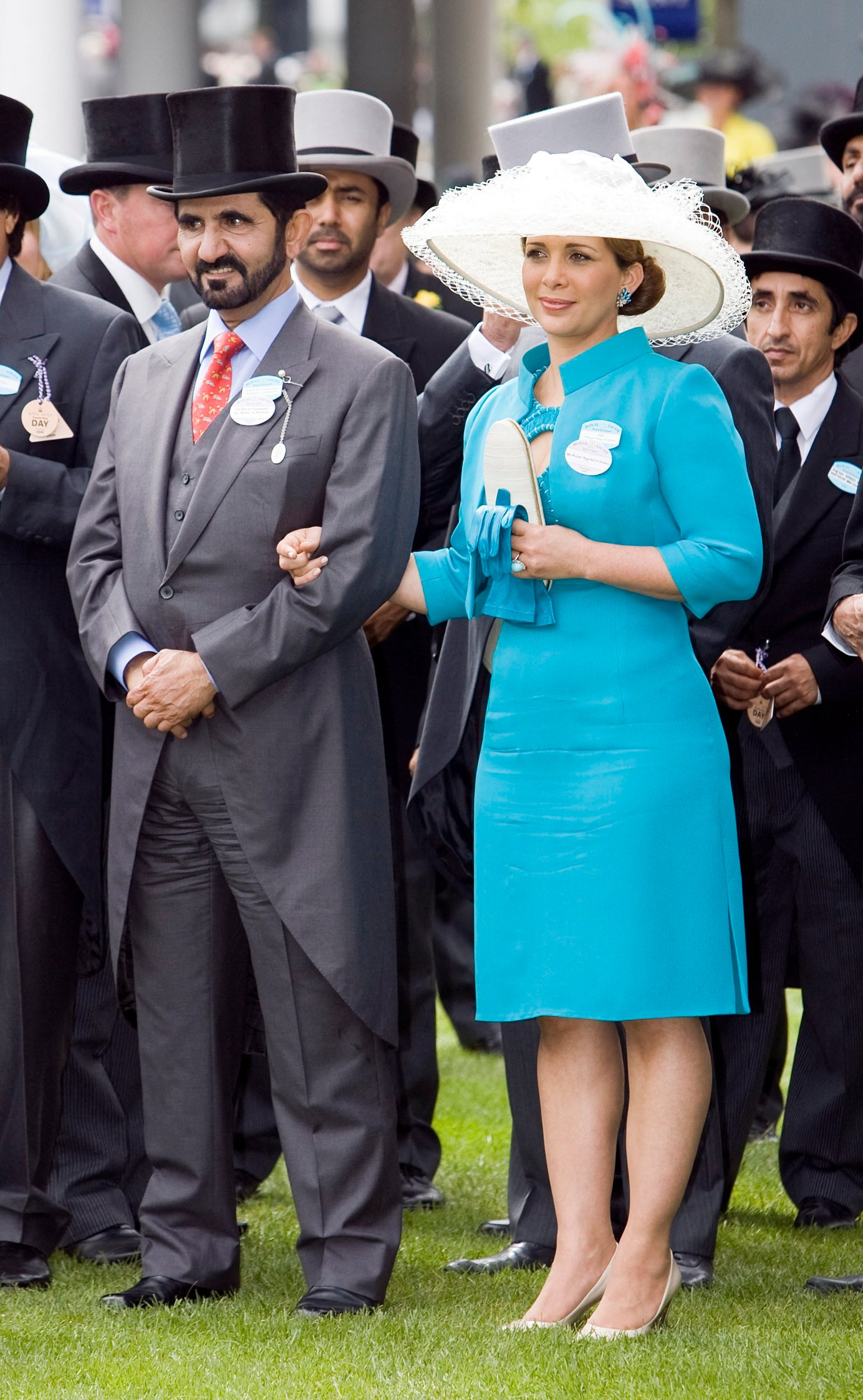 File photo - Dubai ruler Sheikh Mohammed bin Rashed Al Maktoum and wife Princess Haya Bint Al Hussein at the Ladies Day at Royal Ascot Meeting 2009 in Ascot, UK on June 18, 2009. The younger wife of the ruler of Dubai, the billionaire race horse owner Sheikh Mohammed bin Rashid al-Maktoum, is believed to be staying in a town house near Kensington Palace after fleeing her marriage. Princess Haya bint al-Hussein, 45, has not been seen in public for weeks. One half of one of the sporting worlds most celebrated couples, she failed to appear at Royal Ascot last month with her husband., Image: 453480147, License: Rights-managed, Restrictions: , Model Release: no, Credit line: Profimedia, Abaca Press