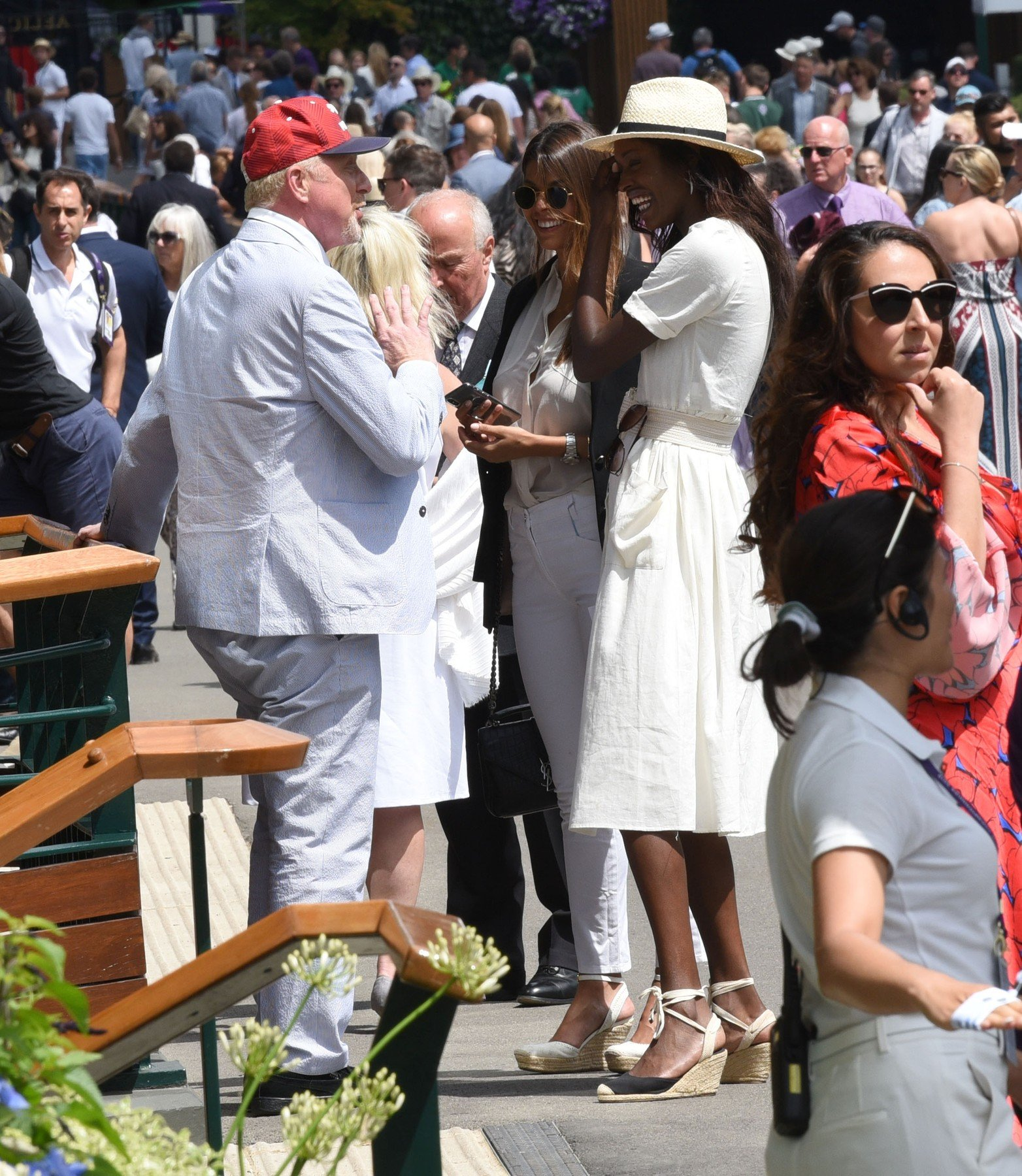 3 July 2019.  Boris Becker & Layla Powell spotted exchanging tickets and meeting up at wimbledon tennis   Pictured: Boris Becker,layla powell, Image: 453778977, License: Rights-managed, Restrictions: , Model Release: no, Credit line: Profimedia, Goff Photos