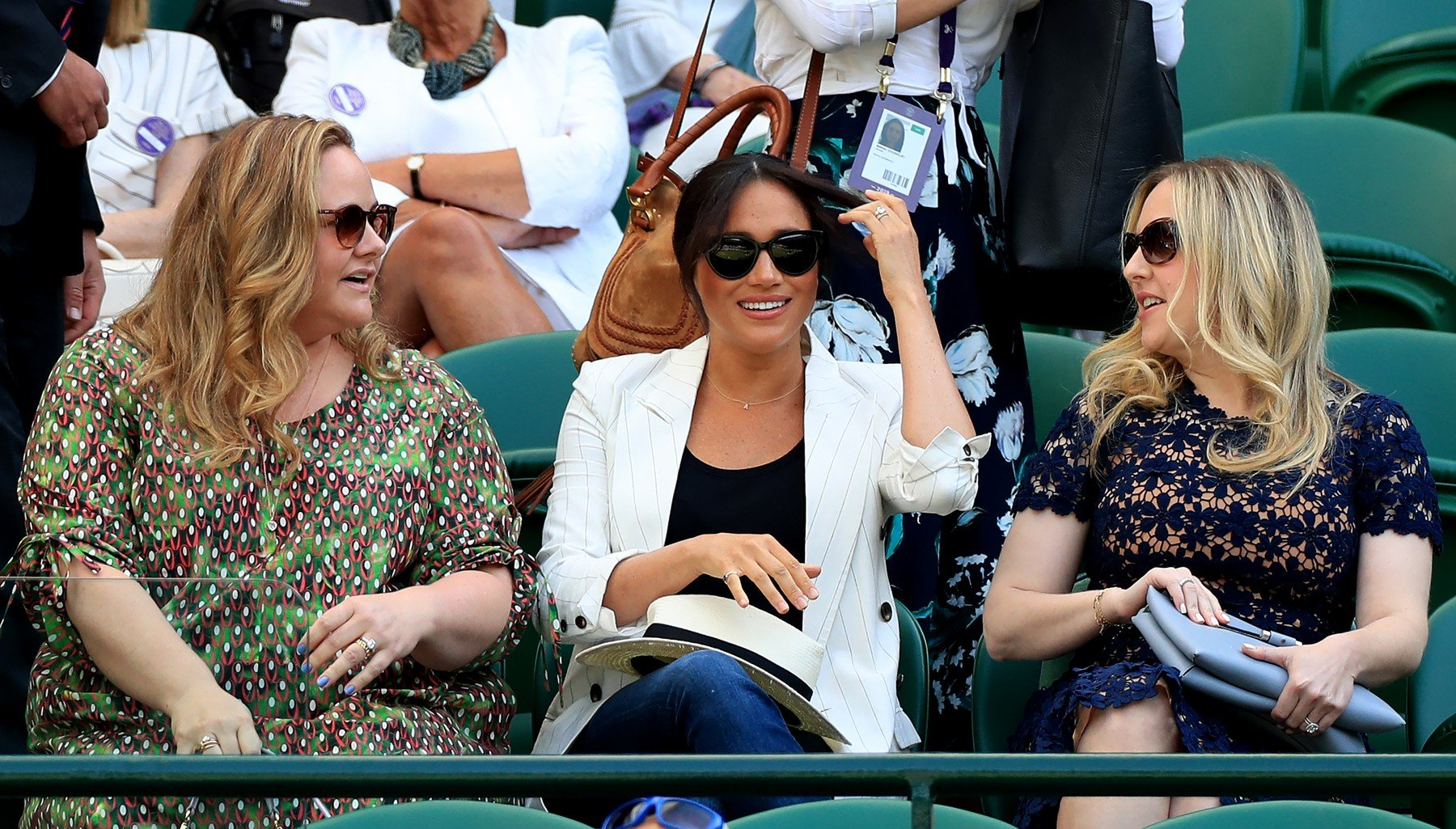 Duchess of Sussex watches Serena Williams on court one on day four of the Wimbledon Championships at the All England Lawn Tennis and Croquet Club, Wimbledon., Image: 454167012, License: Rights-managed, Restrictions: Editorial use only. No commercial use without prior written consent of the AELTC. Still image use only - no moving images to emulate broadcast. No superimposing or removal of sponsor/ad logos, Model Release: no, Credit line: Profimedia, Press Association