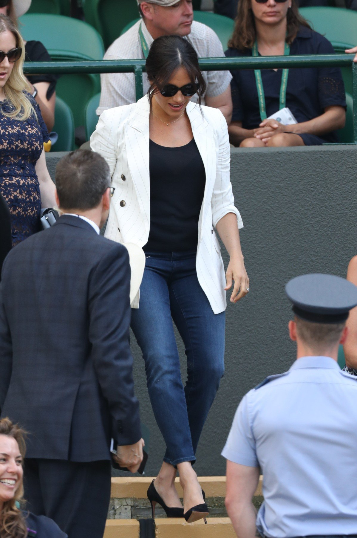 July 4, 2019 - London, London, United Kingdom - Meghan Markle , the Duchess of Sussex  on   the fourth day of the Wimbledon Tennis Championships in London., Image: 454172965, License: Rights-managed, Restrictions: * China, France, Italy, Spain, Taiwan and UK Rights OUT *, Model Release: no, Credit line: Profimedia, Zuma Press - News