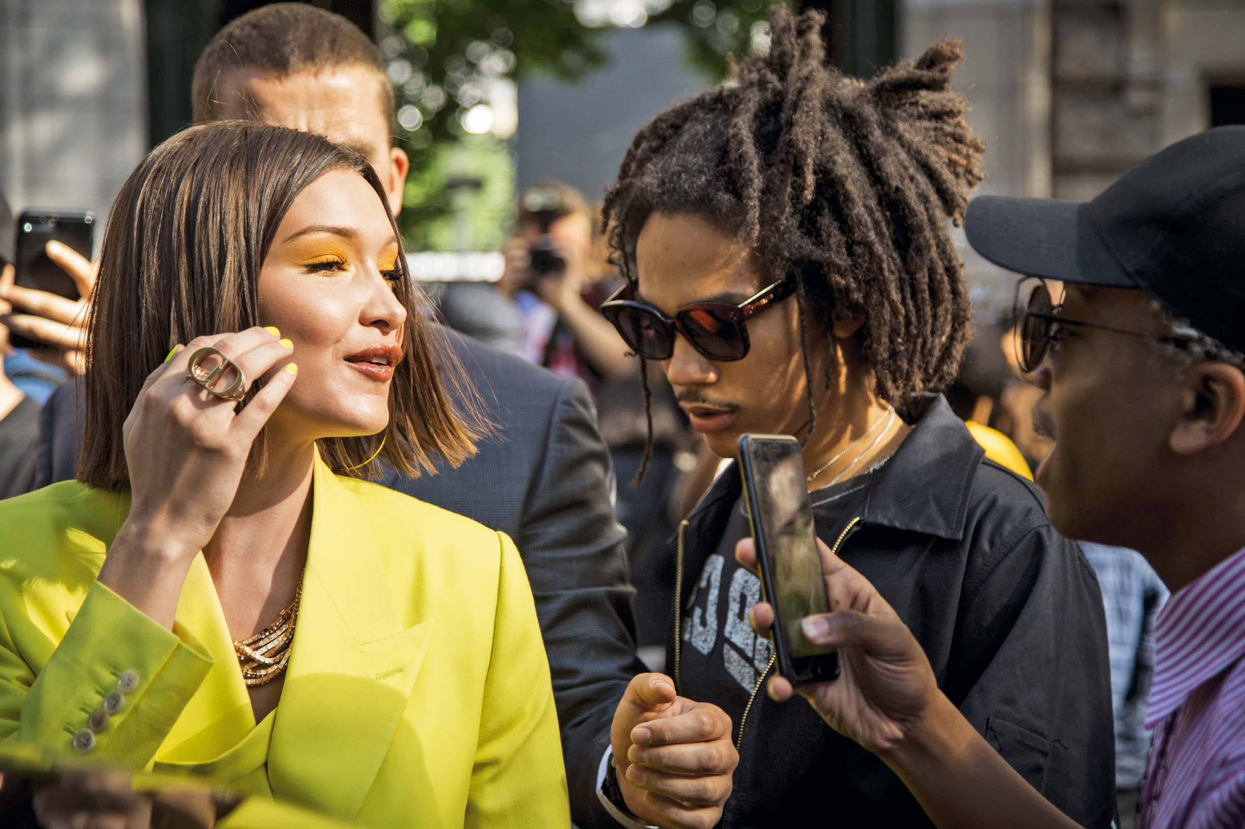 PARIS, FRANCE - JUNE 23: Bella Hadid and Luka Sabbat, are seen in the streets of Paris after the Dior Homme show, during Paris Men's Fashion Week Spring/Summer 2019  on June 23, 2018 in Paris, France. (Photo by Claudio Lavenia/GC Images)