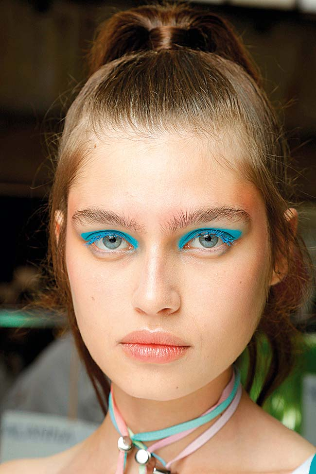 Model backstage Byblos show, Backstage, Spring Summer 2019, Milan Fashion Week, Italy - 19 Sep 2018, Image: 387414553, License: Rights-managed, Restrictions: , Model Release: no, Credit line: Profimedia, TEMP Rex Features