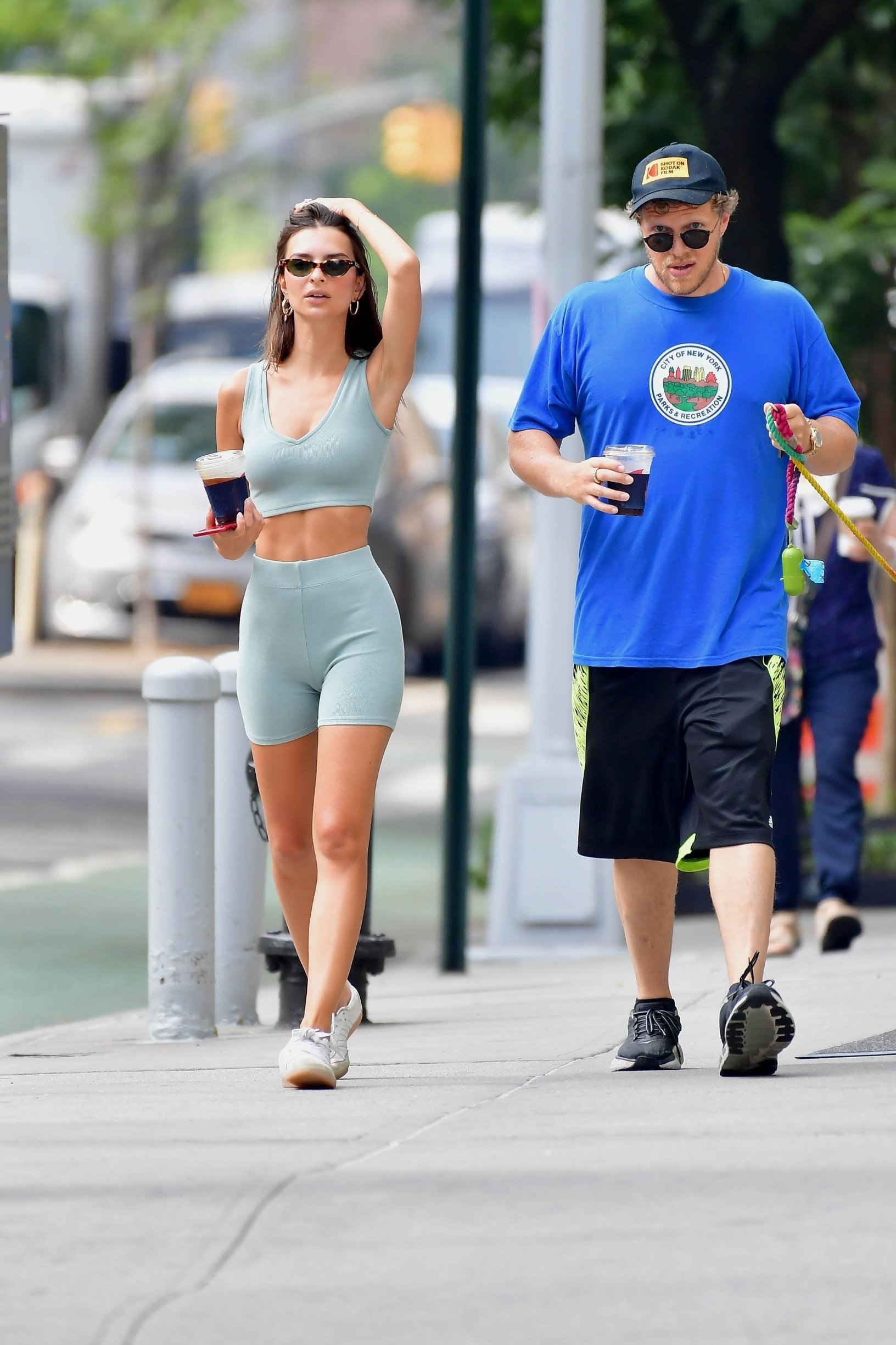 New York, NY  - Model and Actress, Emily Ratjakowski stops traffic and turns heads showing off her sexy physique in a monochromatic biker shot set while walking her pup colombo with husband Sebastian Bear-McClard.  BACKGRID USA 6 JULY 2019, Image: 454936433, License: Rights-managed, Restrictions: RIGHTS: WORLDWIDE EXCEPT IN GERMANY, POLAND, Model Release: no, Credit line: Profimedia, Backgrid USA