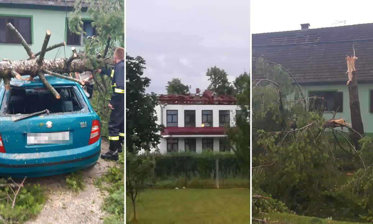 Oštećeni auto u Strošincima (lijevo), škola u Drenovcima (u sredini) i slomljeno stablo u Strošincima (desno)