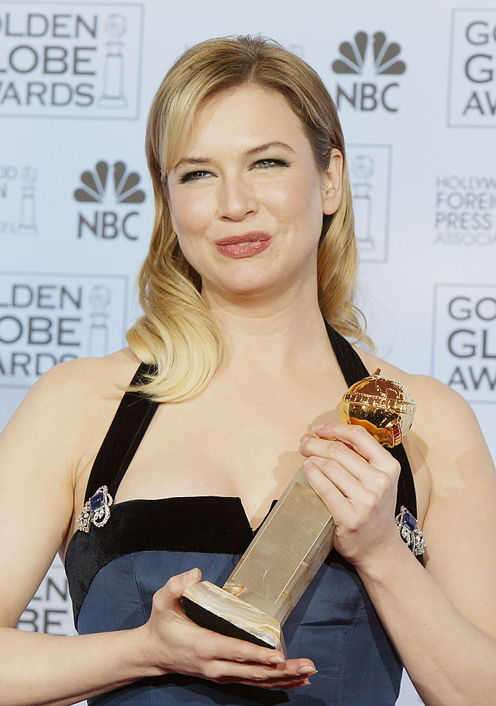 BEVERLY HILLS, CA - JANUARY 25:  Actress Renee Zellweger poses backstage at the 61st Annual Golden Globe Awards at the Beverly Hilton Hotel on January 25, 2004 in Beverly Hills, California. (Photo by Kevin Winter/Getty Images)