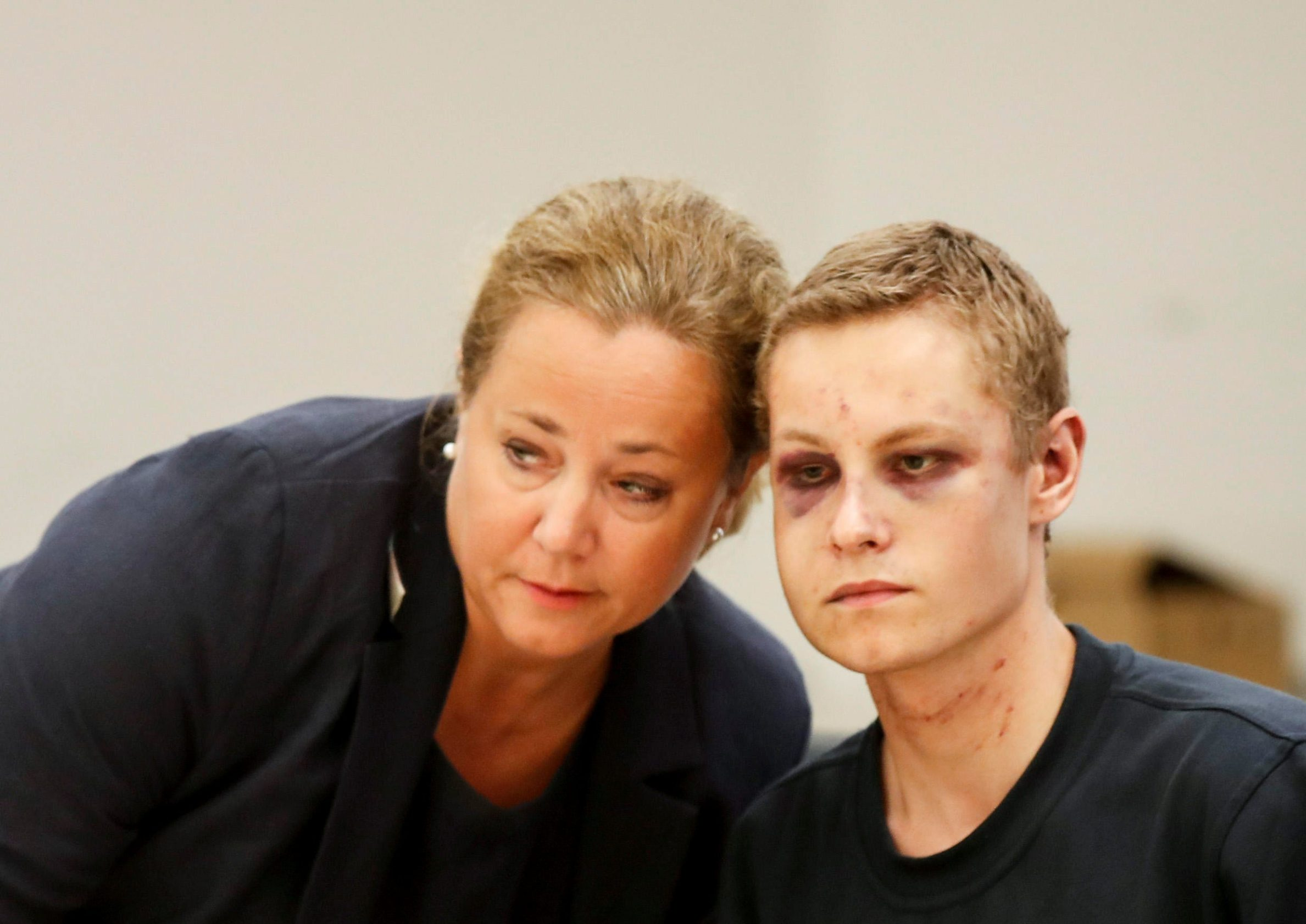 Philip Manshaus, who is suspected of an armed attack at Al-Noor Islamic Centre Mosque and killing his stepsister and his lawyer Unni Fries appear in court in Oslo, Norway, August 12, 2019. NTB Scanpix/Cornelius Poppe via REUTERS ATTENTION EDITORS - THIS IMAGE WAS PROVIDED BY A THIRD PARTY. NORWAY OUT. NO COMMERCIAL OR EDITORIAL SALES IN NORWAY.