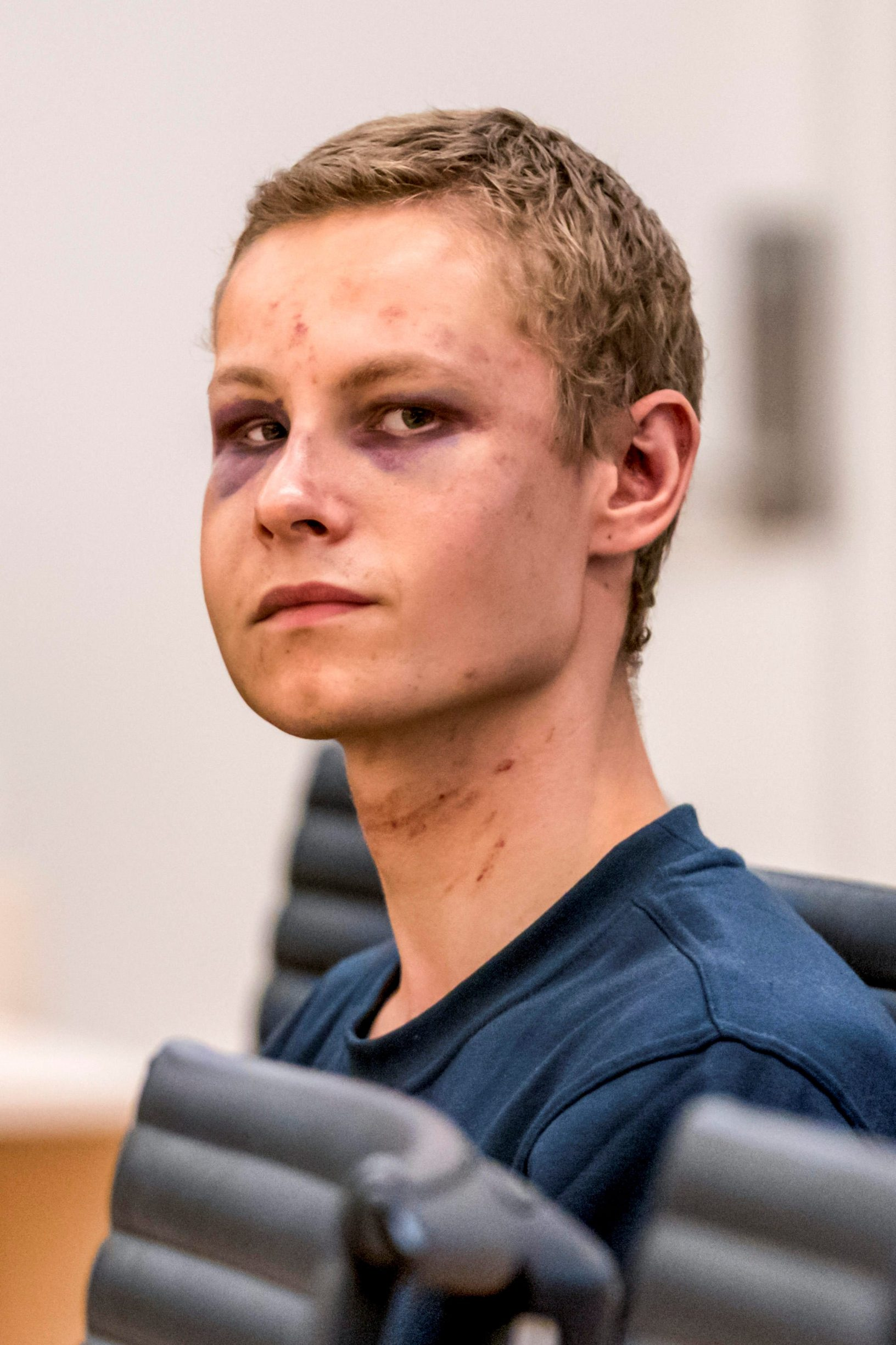 Philip Manshaus, who is suspected of an armed attack at Al-Noor Islamic Centre Mosque and killing his stepsister, appears in court in Oslo, Norway, August 12, 2019. NTB Scanpix/Cornelius Poppe via REUTERS ATTENTION EDITORS - THIS IMAGE WAS PROVIDED BY A THIRD PARTY. NORWAY OUT. NO COMMERCIAL OR EDITORIAL SALES IN NORWAY.