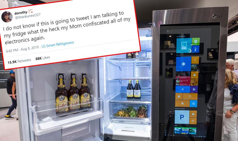 Tinejdžericina objava u kojoj se vidi da je tweetala s hladnjaka; ilustracija LG-jevog hladnjaka