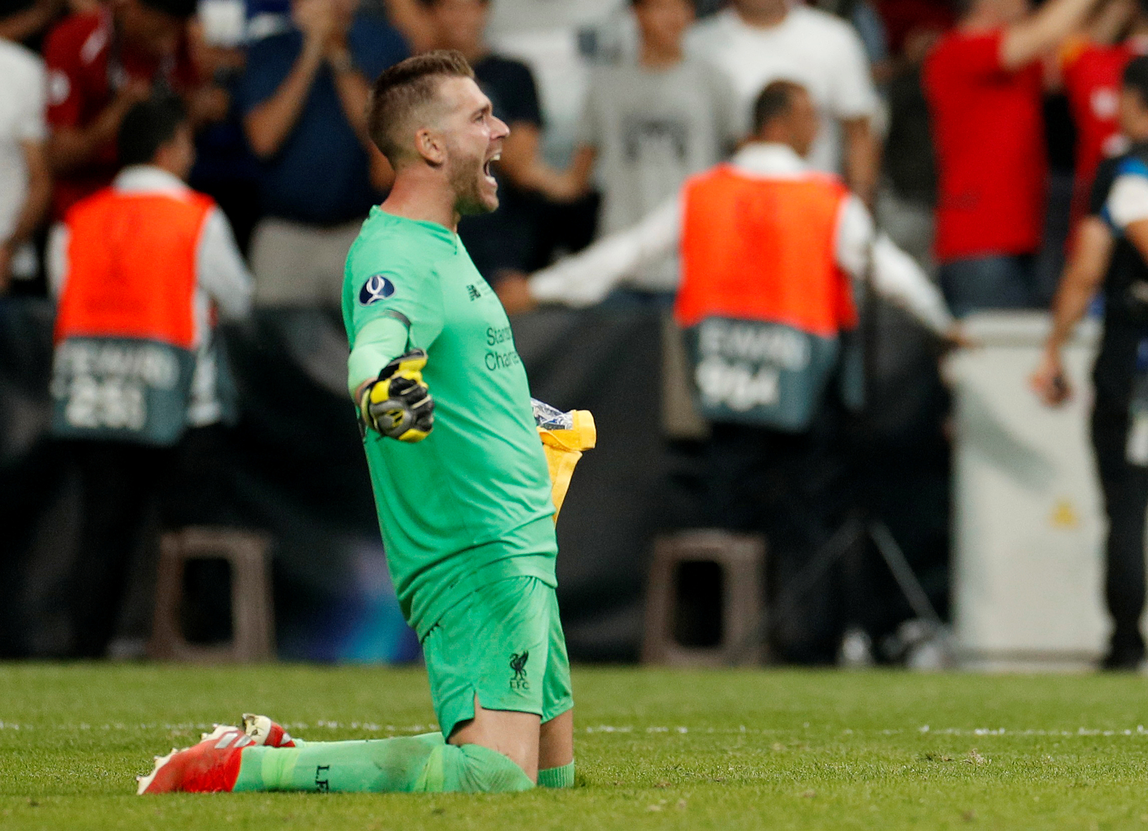 Soccer Football - UEFA Super Cup - Liverpool v Chelsea - Vodafone Arena, Istanbul, Turkey - August 14, 2019  Liverpool's Adrian celebrates winning the UEFA Super Cup after saving the decisive penalty in the penalty shootout taken by Chelsea's Tammy Abraham   Action Images via Reuters/John Sibley - RC1F5DB63DD0