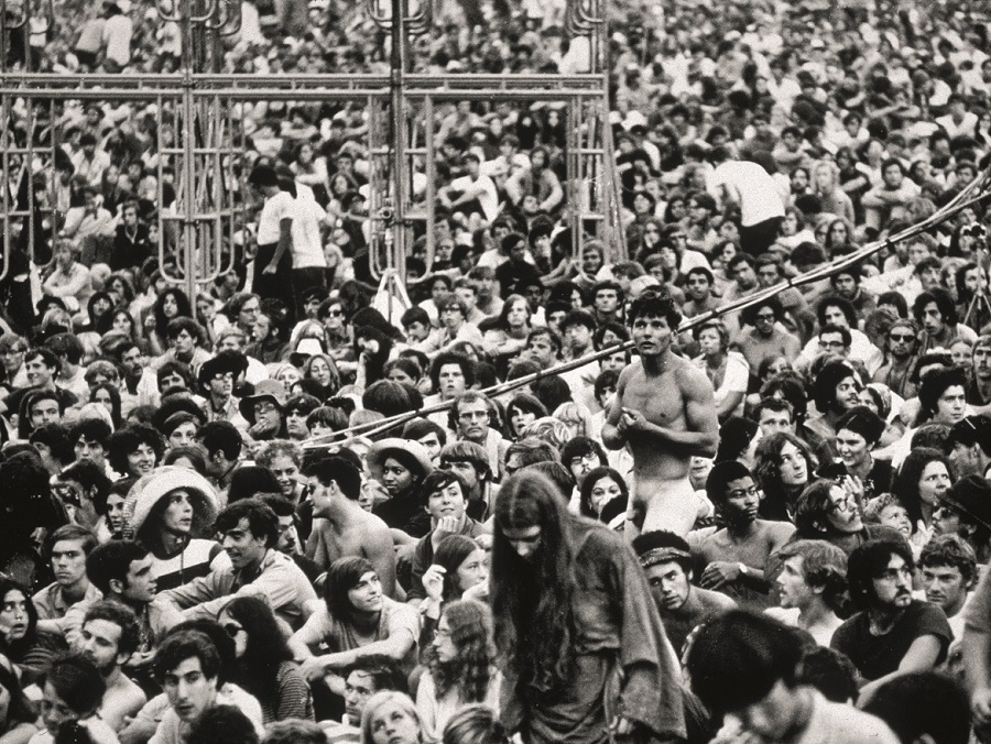 Members of the crowd at the Woodstock Festival in Bethal, New York.   (Photo by Hulton Archive/Getty Images)
