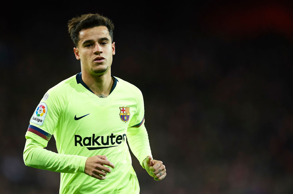 BILBAO, SPAIN - FEBRUARY 10: Philippe Coutinho of FC Barcelona in action during the La Liga match between Athletic Club and FC Barcelona at San Mames Stadium on February 10, 2019 in Bilbao, Spain. (Photo by Juan Manuel Serrano Arce/Getty Images)