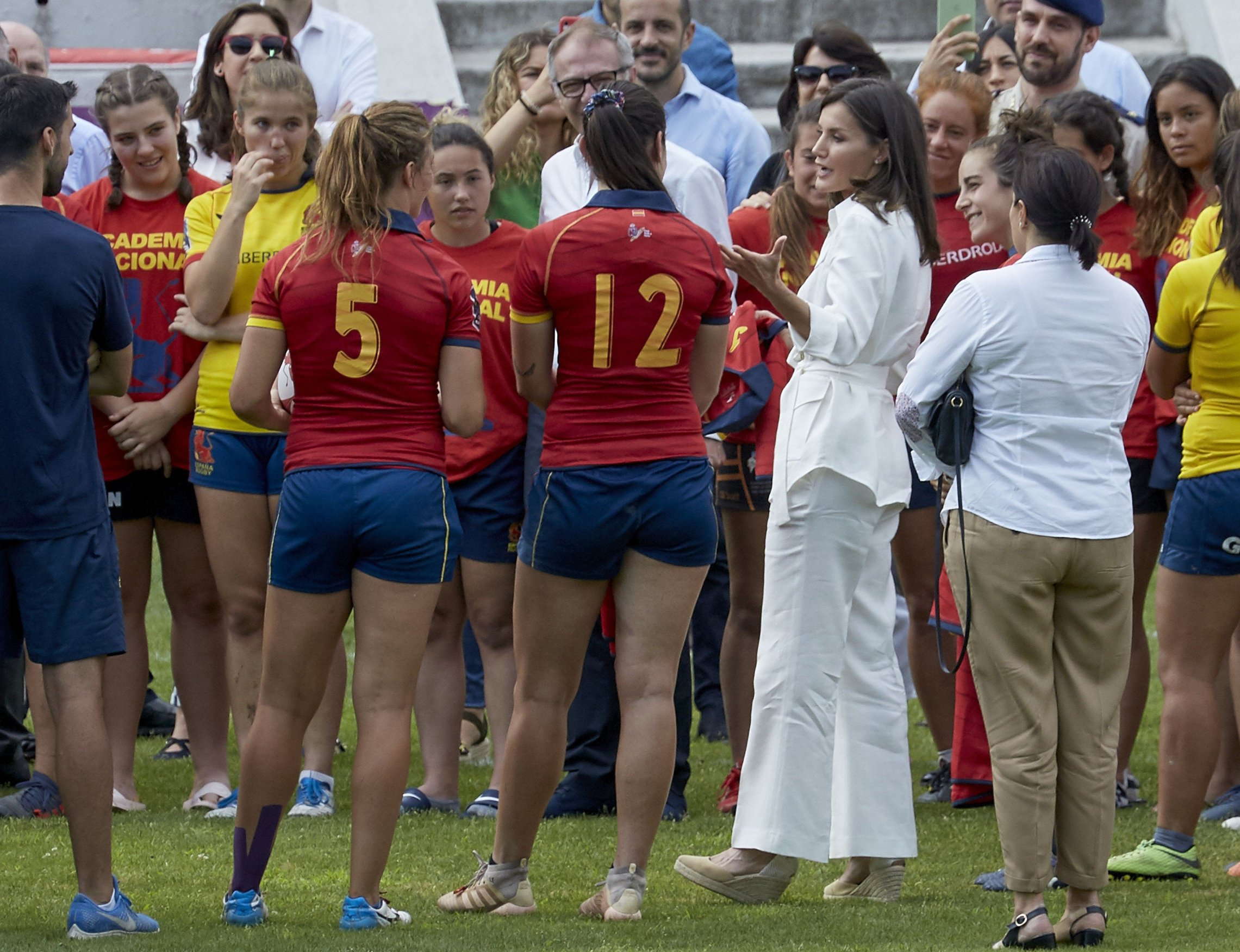 Queen Letizia of Spain attends the training of the Rugby 7 Female National Team on July 04, 2019 in Madrid, Spain.//CORDOBANAVALPOTRO_let2347/1907041429/Credit:Miguel Cordoba/SIPA/1907041429, Image: 454075308, License: Rights-managed, Restrictions: , Model Release: no, Credit line: Profimedia, Sipa Press