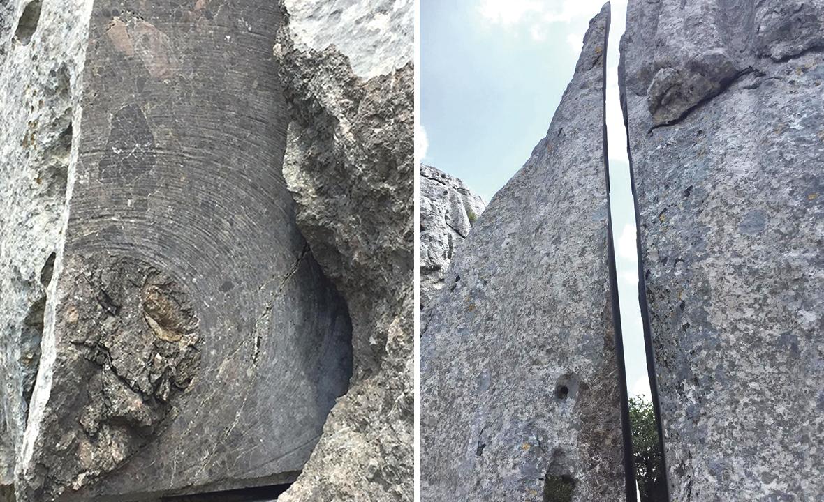 """Radnici """"Kamena"""", tvrtke Ante Jurjevića, posebnim su strojem, na molbu samoukog kipara, prije 17 godina,  ispilali komad stijene visoke 5 metara"""