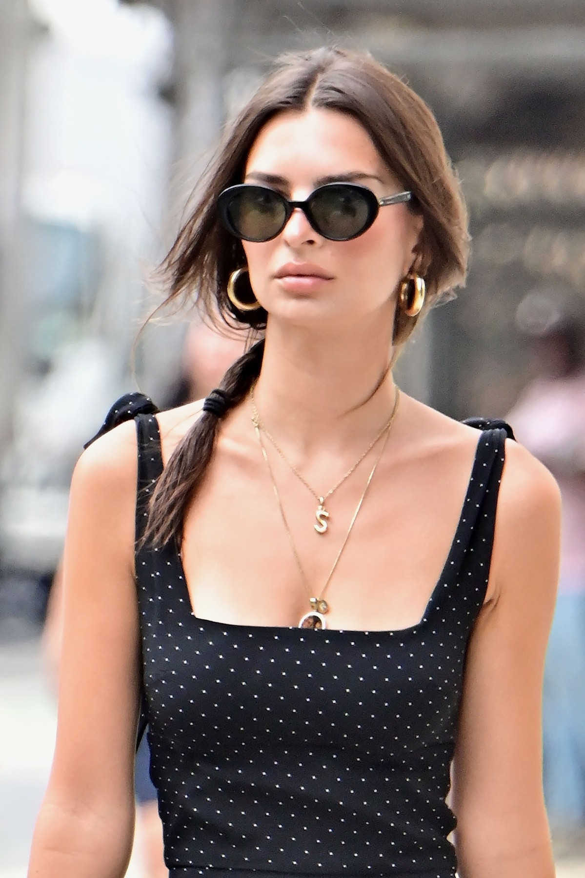 New York, NY  - Model, Emily Ratajkowski looks stylish in a black polka dot dress as she runs her early morning errands in New York. Emily is seen wearing a necklace with an 'S' pendant to represent her love for husband Sebastian Bear-McClard.  BACKGRID USA 19 AUGUST 2019, Image: 466117013, License: Rights-managed, Restrictions: RIGHTS: WORLDWIDE EXCEPT IN FRANCE, GERMANY, POLAND, Model Release: no, Credit line: Profimedia, Backgrid USA
